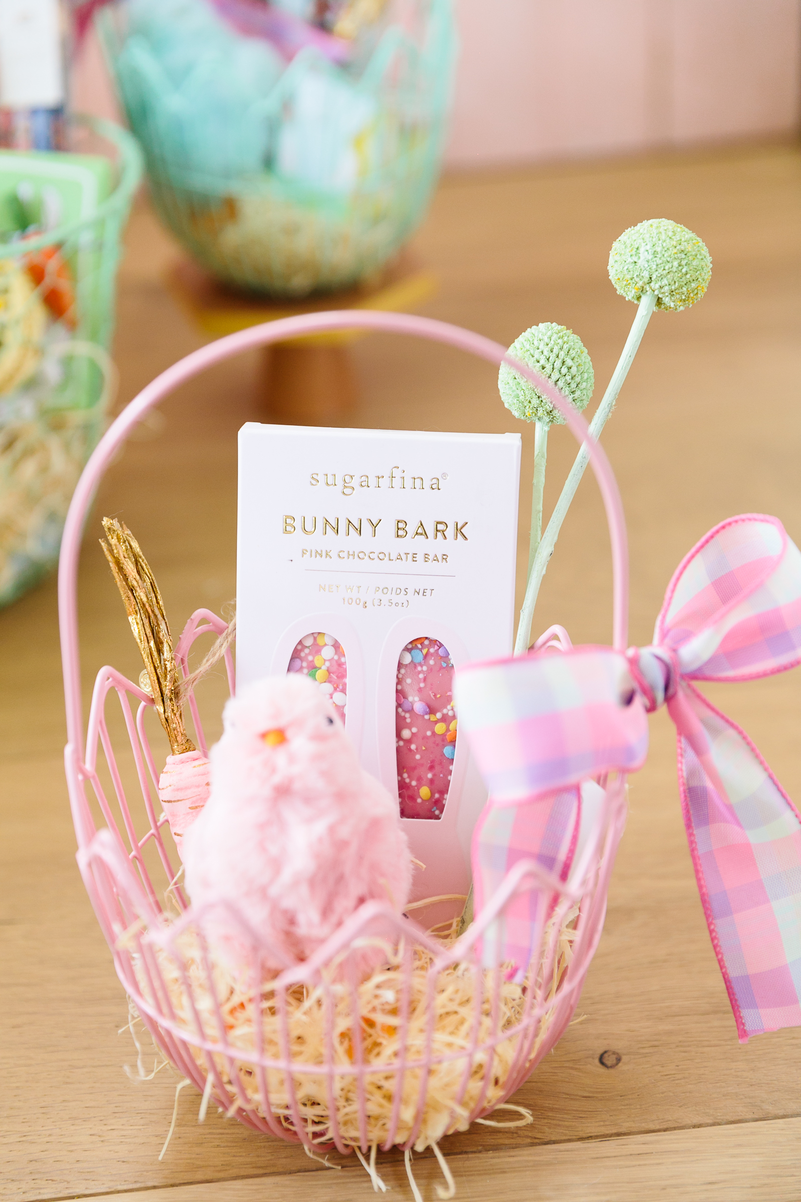 pink wire easter basket with bunny bark