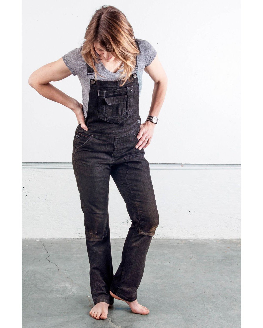 womens gardening black denim overalls
