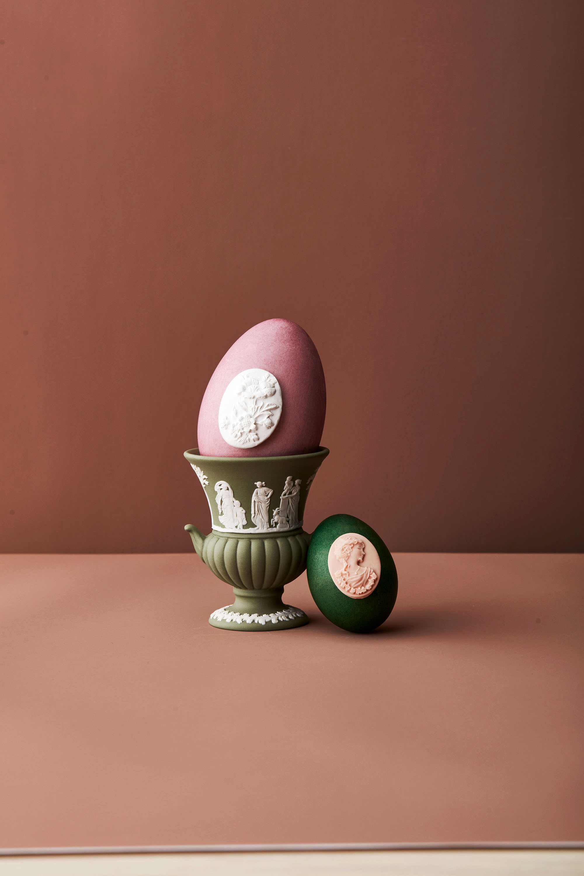 jasperware easter eggs with vase