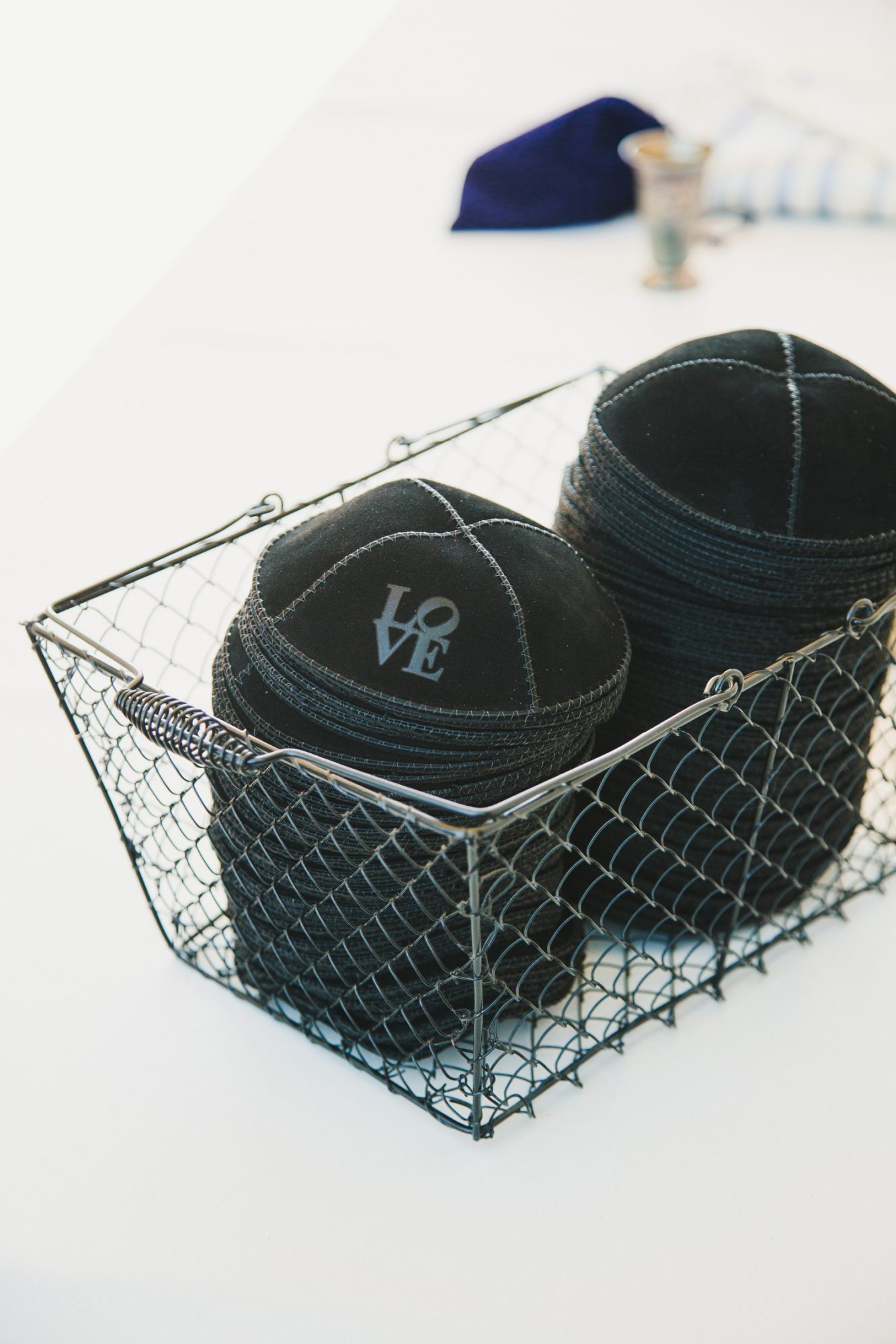 black yarmulkes with love matte leather lettering