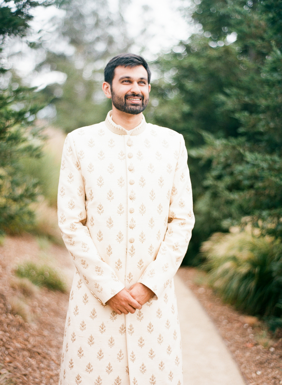custom made golden ivory formal India kurta groom attire