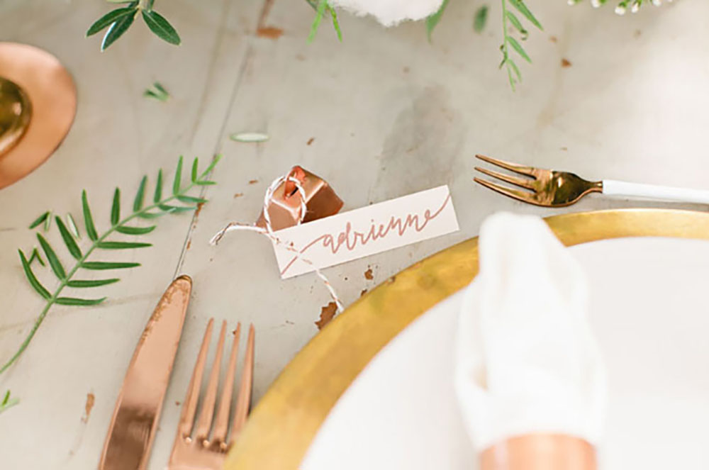 copper bells Place Cards with calligraphed tags