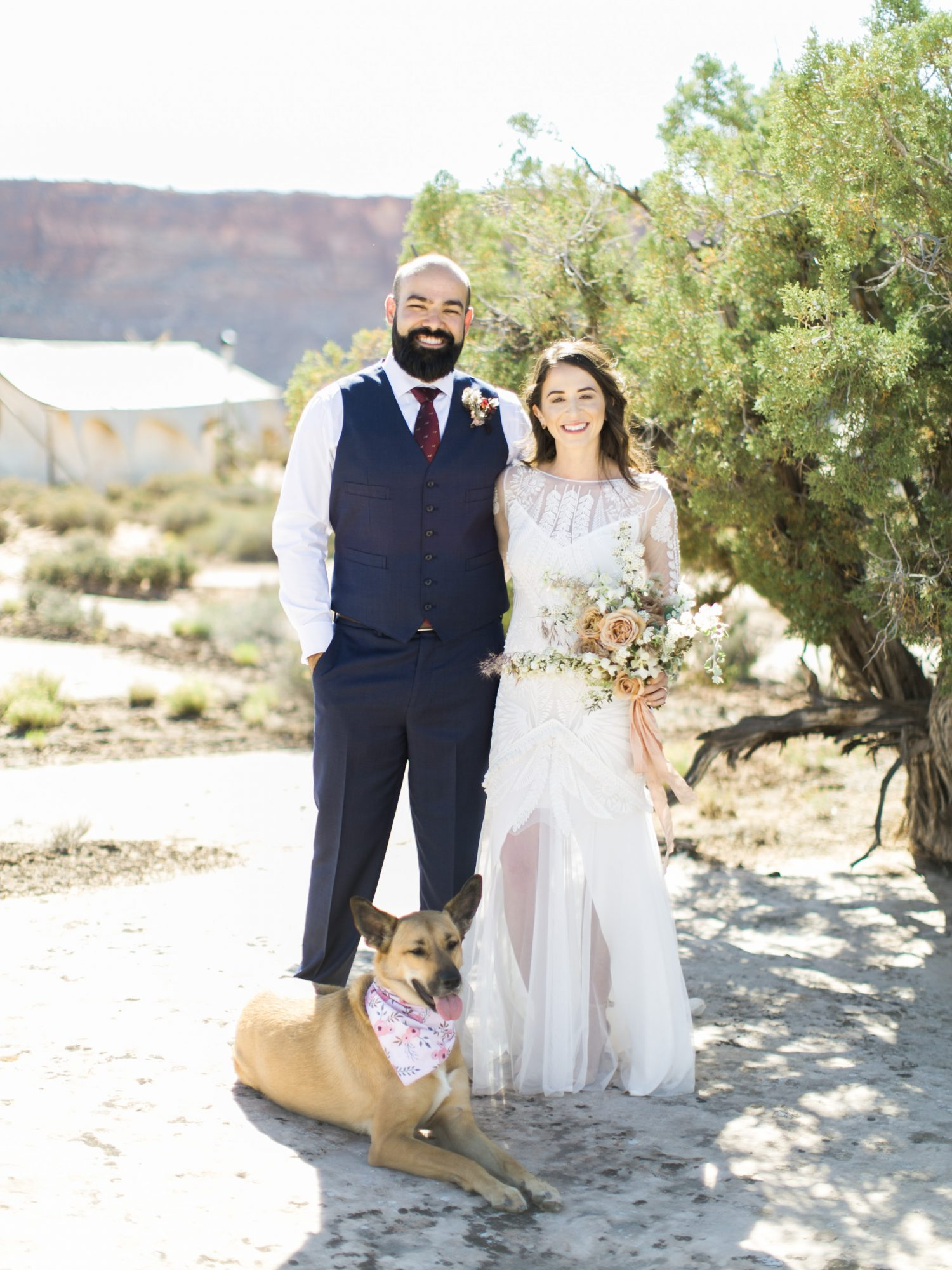 jeanette david wedding desert couple dog