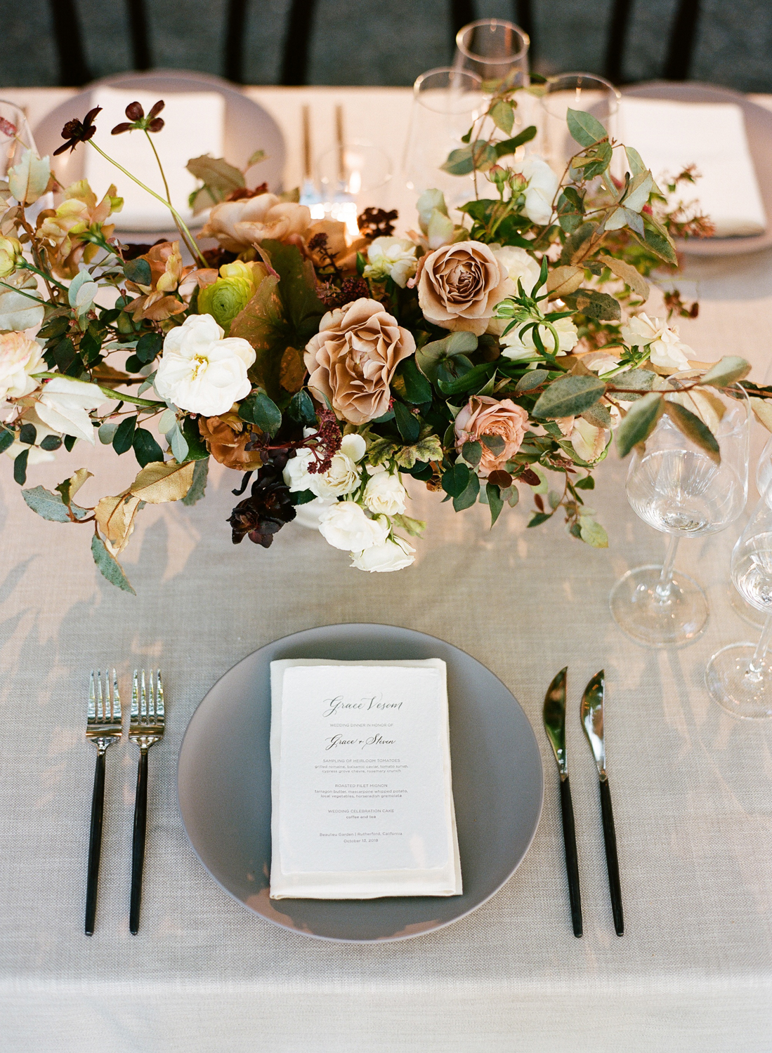 letterpressed menus with placement cards on reception table