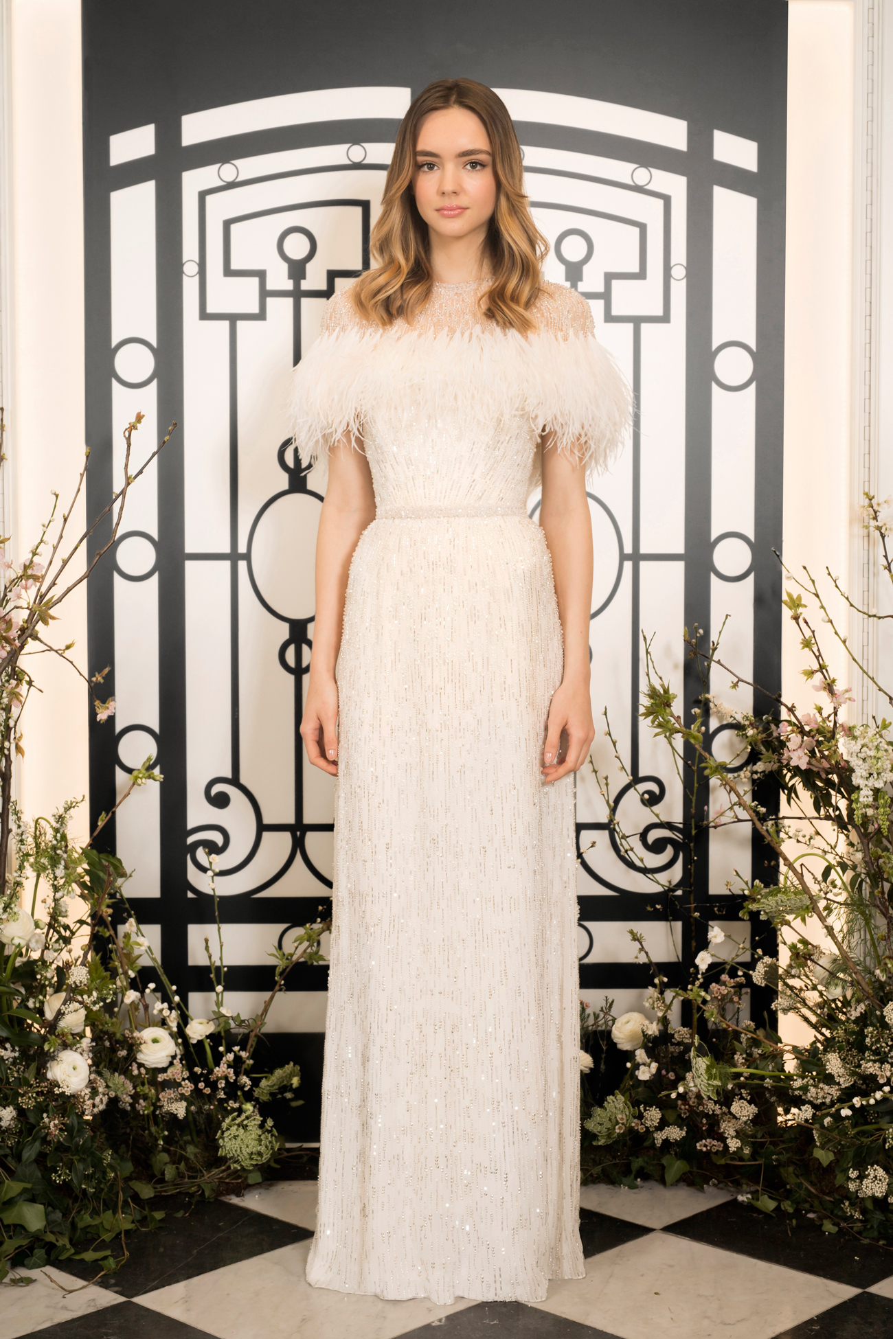 jenny packham strapless beaded sheath wedding dress with feathered capelet spring 2020