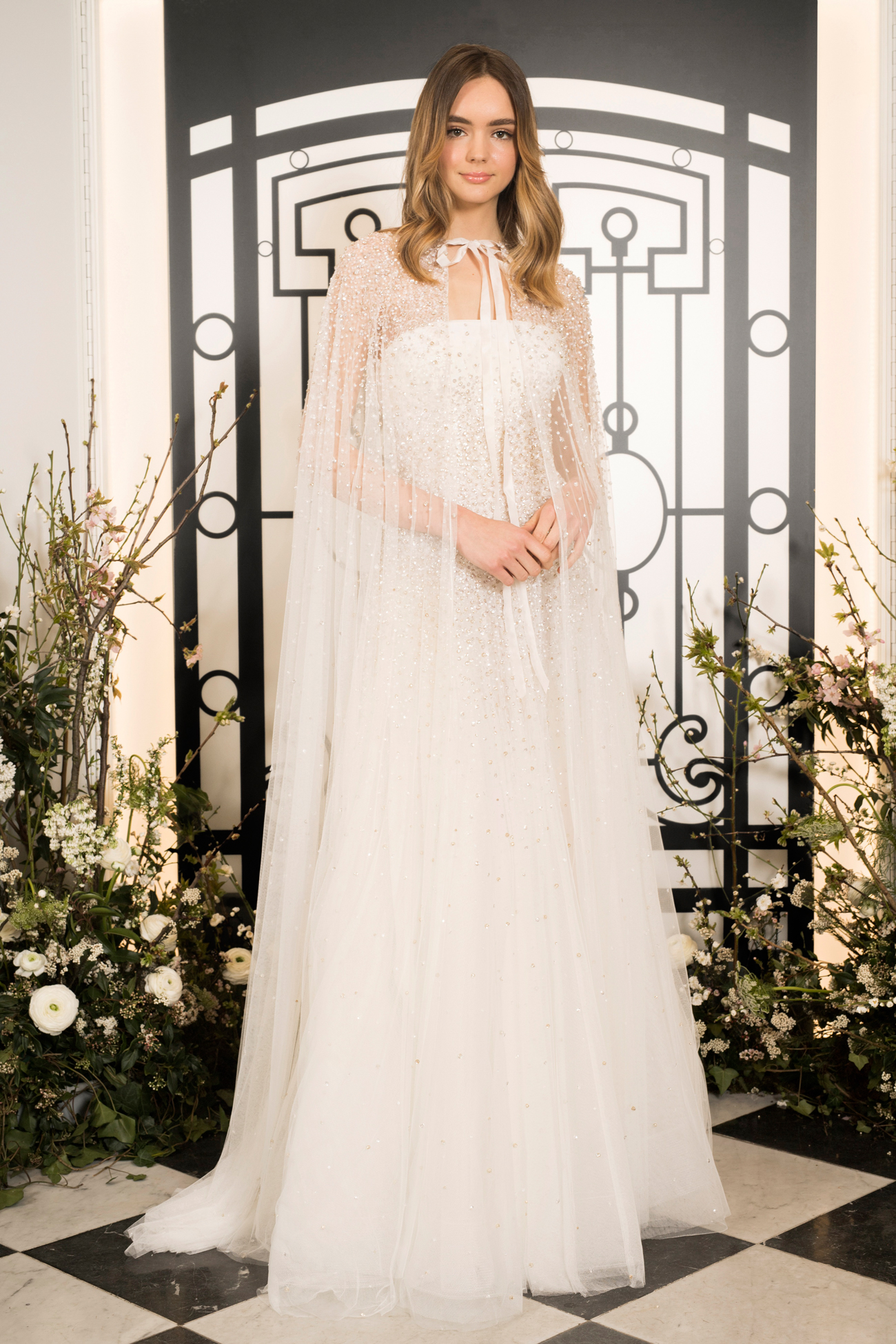 jenny packham beaded strapless a-line tulle wedding dress with cape spring 2020