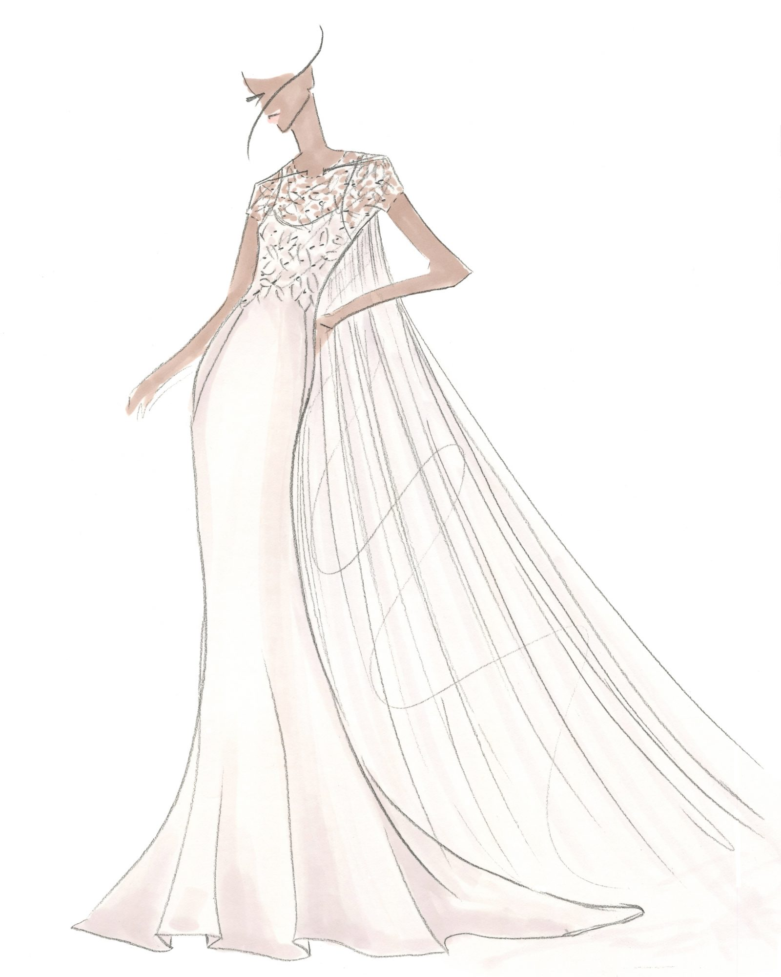 embroidered tulle trumpet Amsale spring 2020