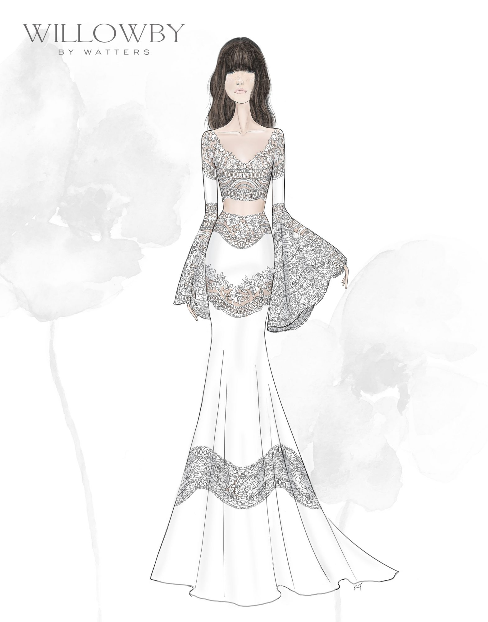 bell sleeves v-neck a-line lace Willowby by Watters Spring 2020