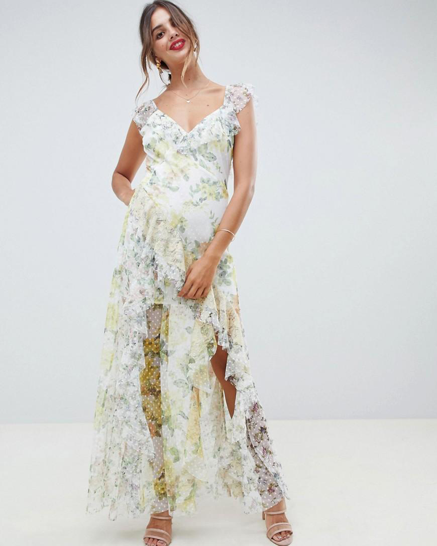 floral pattern ruffled maxi dress