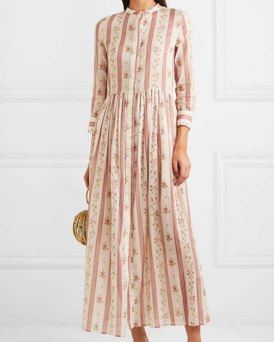floral pattern cotton maxi dress