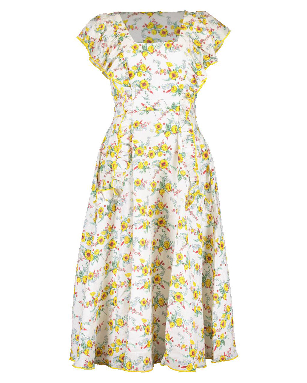 short ruffle-sleeve daisy pattern midi dress
