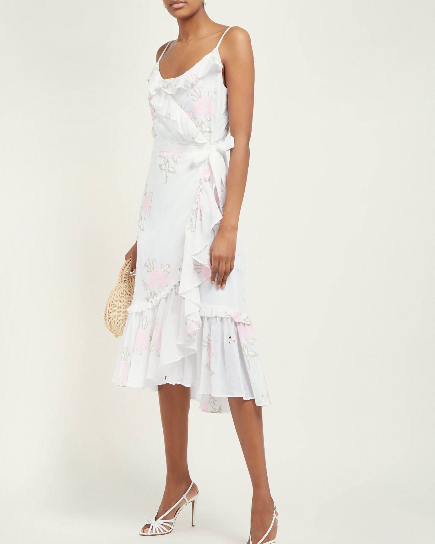 floral pattern ruffled cotton wrap dress