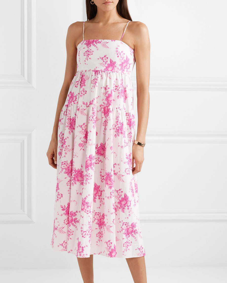 pink floral pattern cotton poplin midi dress
