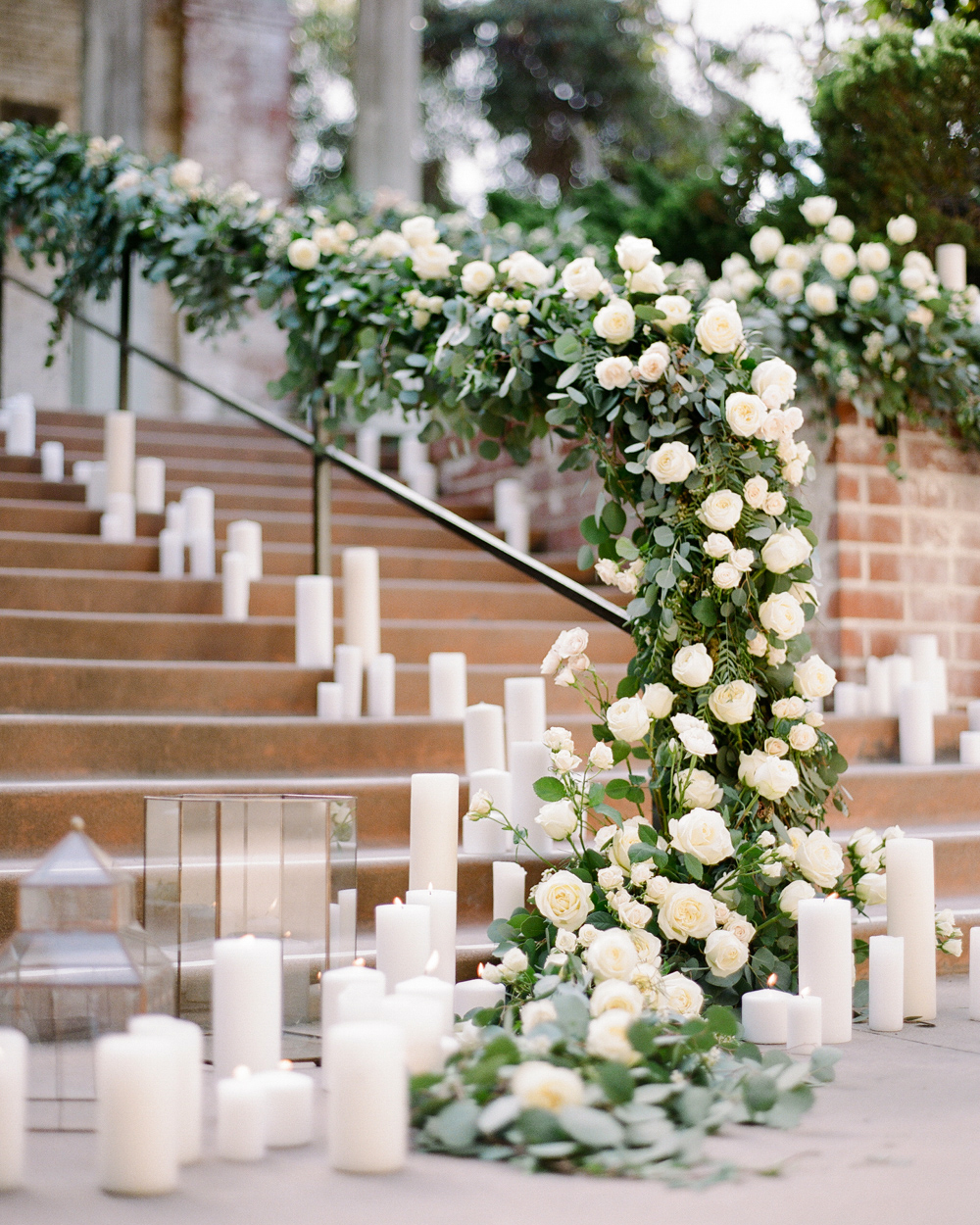 stair banister decor pillar candles