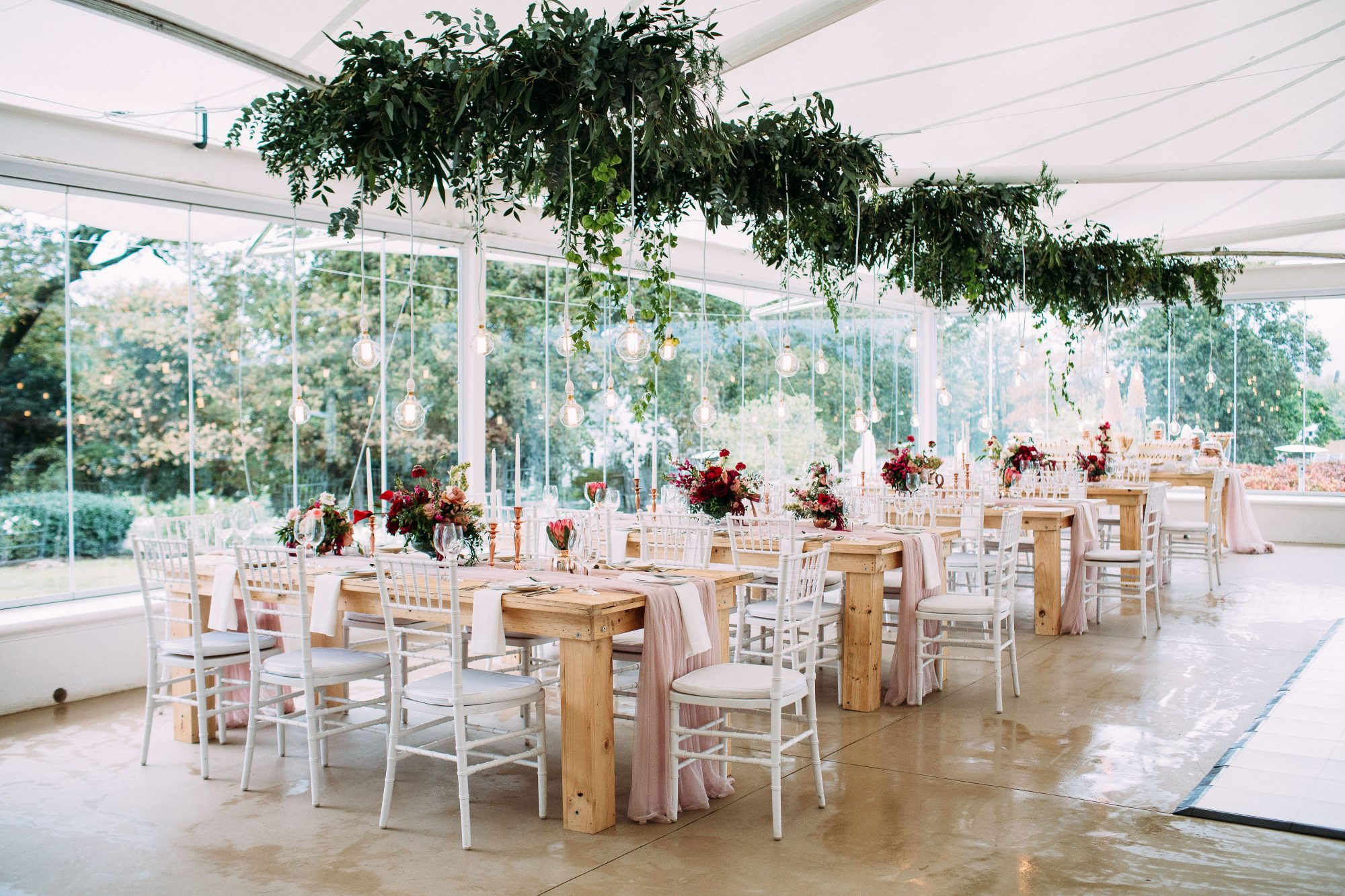 yolana douglas wedding reception space and tables
