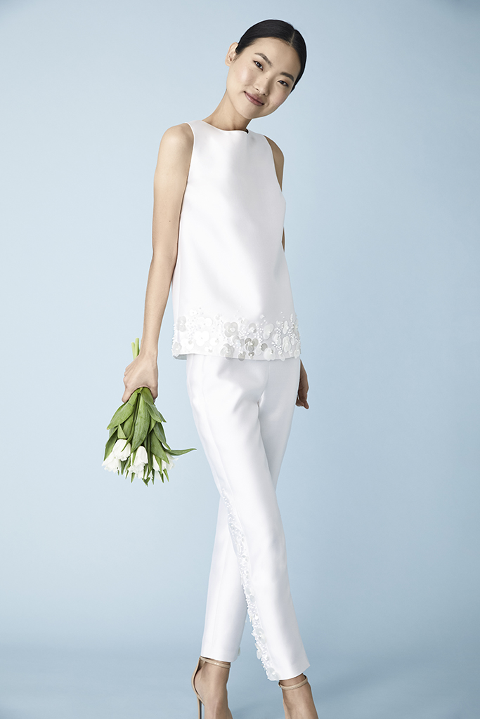 pants with jewel neck top Molly Mookkamp Spring 2020 wedding suit