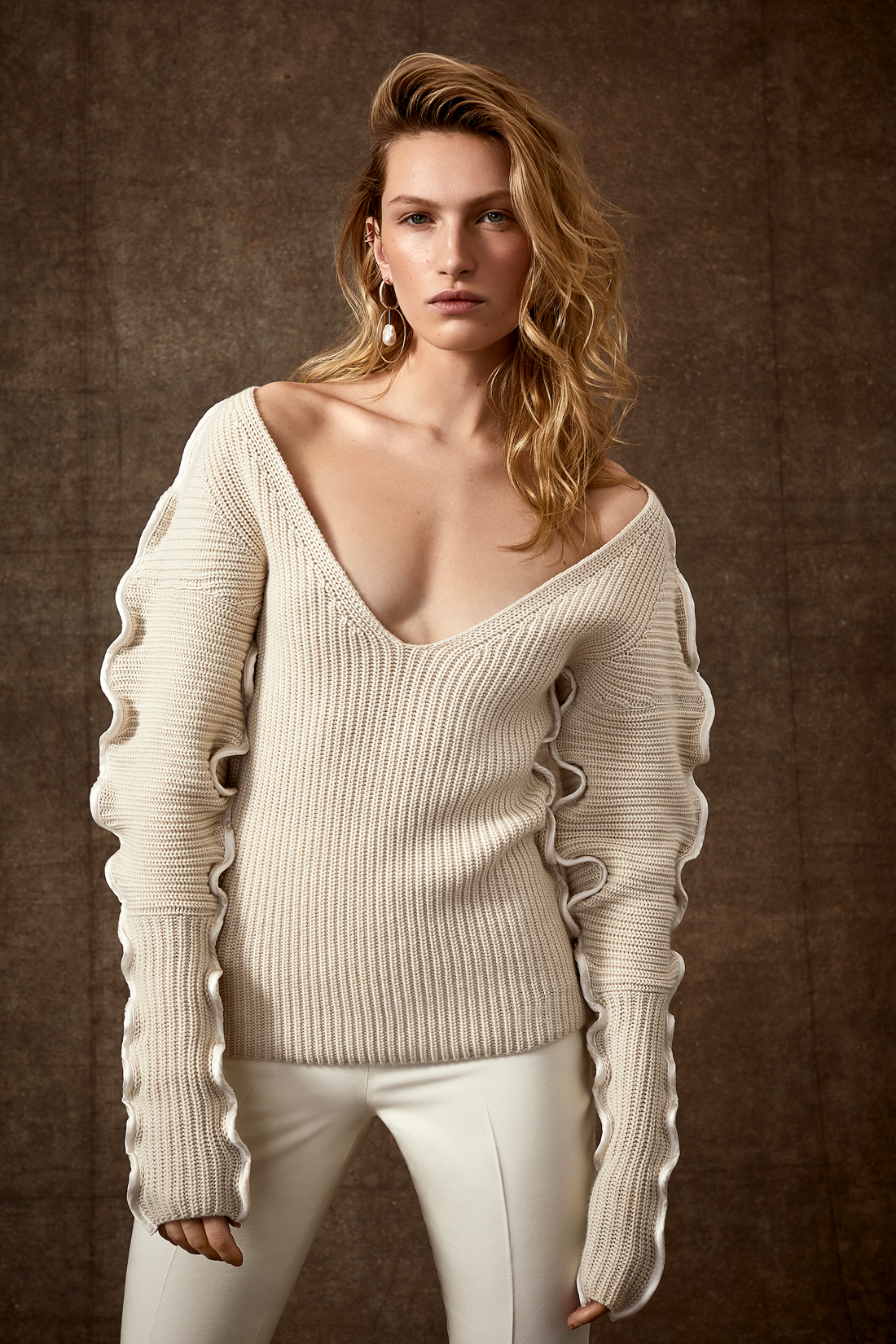 scalloped edging long sleeve knit scooped neck sweater with pants wedding set Danielle Frankel Spring 2020