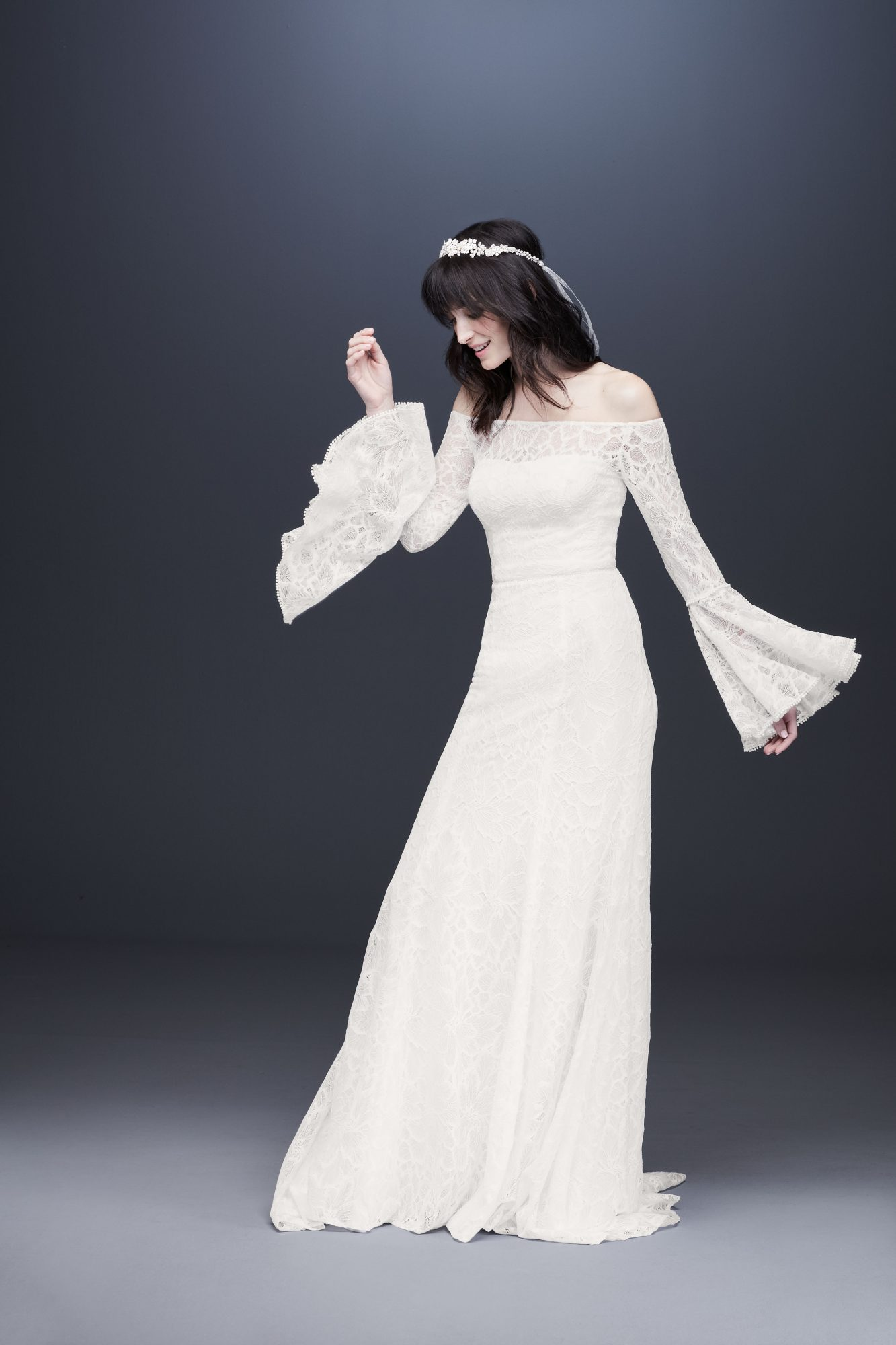 long bell sleeve off-shoulder wedding dress davids bridal galina Spring 2020