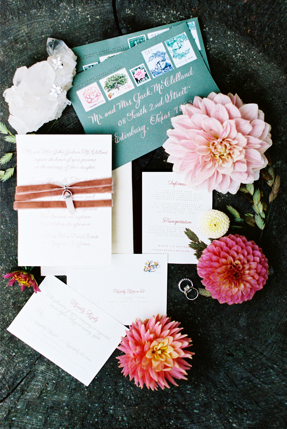 nature themed wedding stationary suit