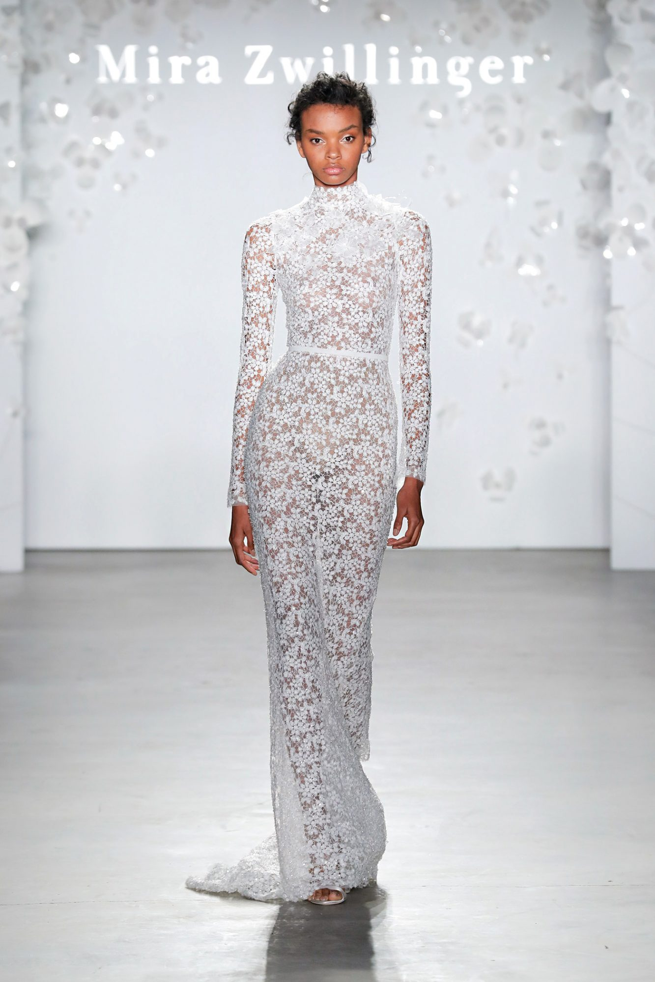 mira zwillinger long-sleeved high-neck wedding dress spring 2020