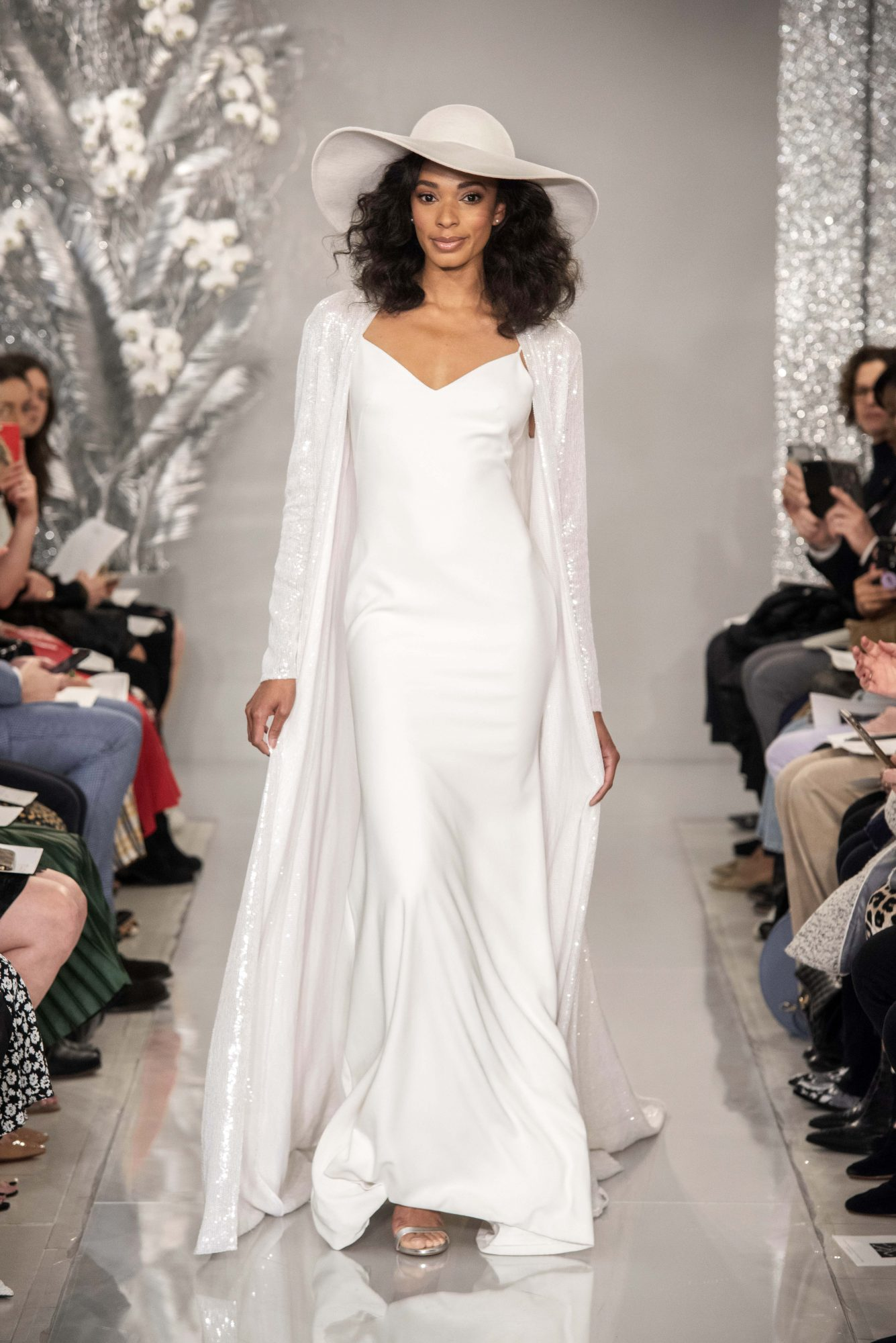 THEIA embroidered coat slip gown wedding dress Spring 2020
