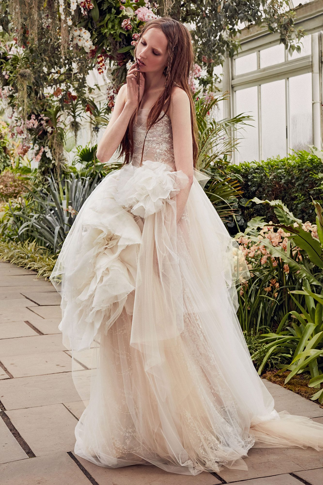 vera wang beadwork tulle overlay wedding dress spring 2020