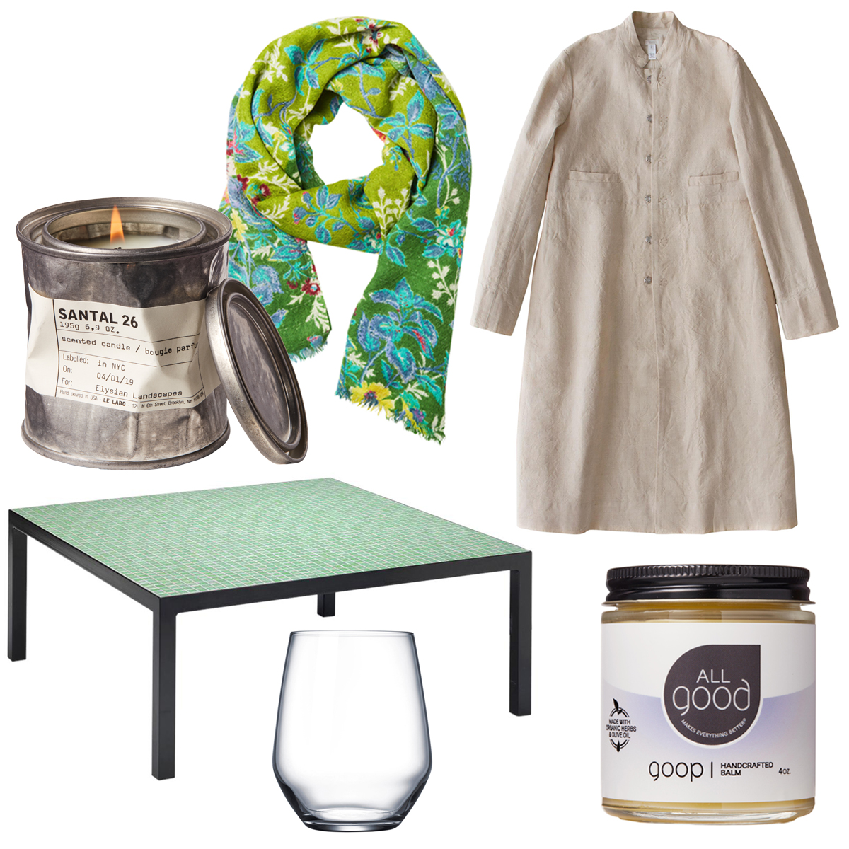 tastemaker products scarf candle table glass coat goop