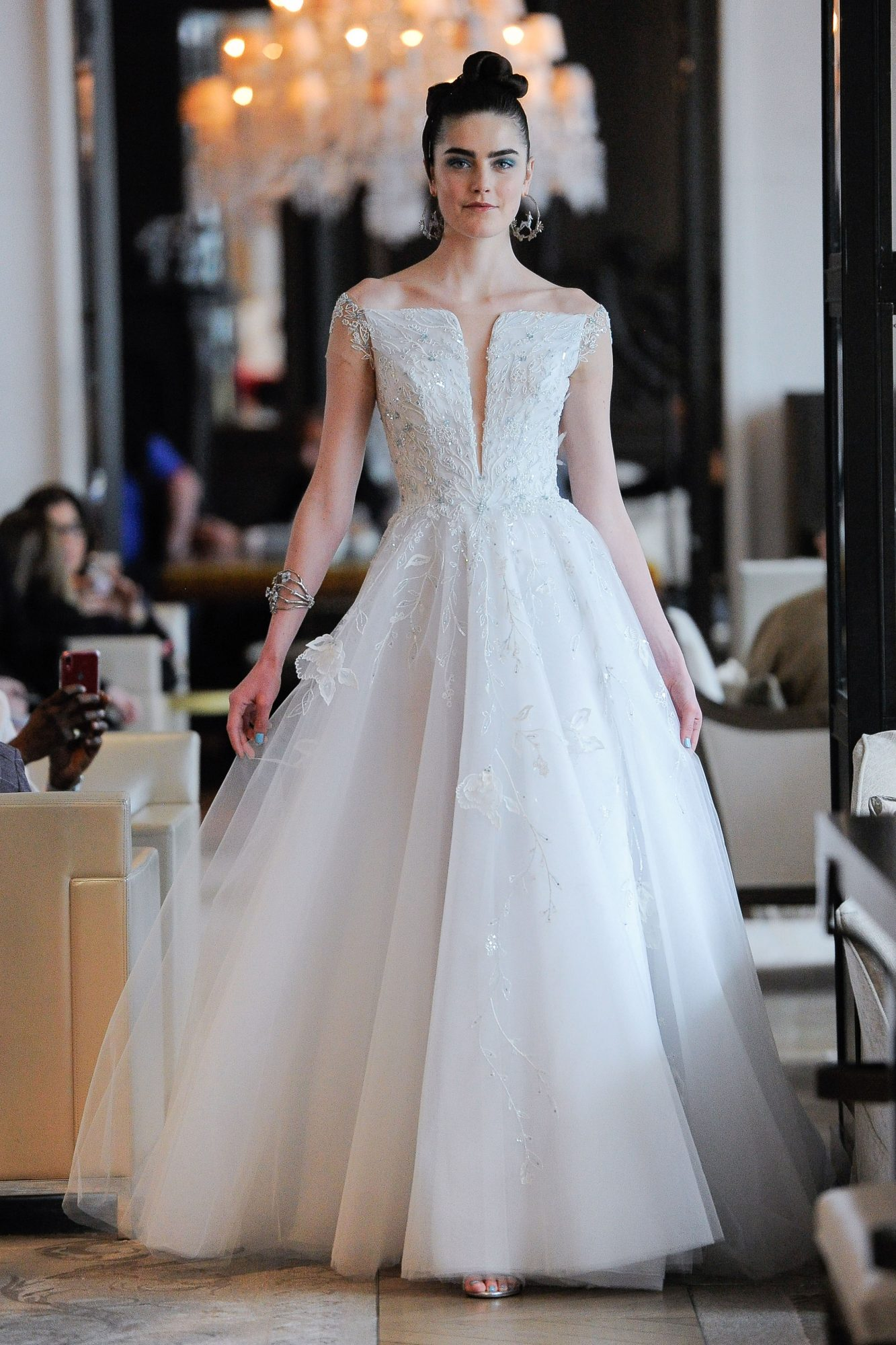off the shoulder beaded a-line wedding dress Ines Di Santo Spring 2020