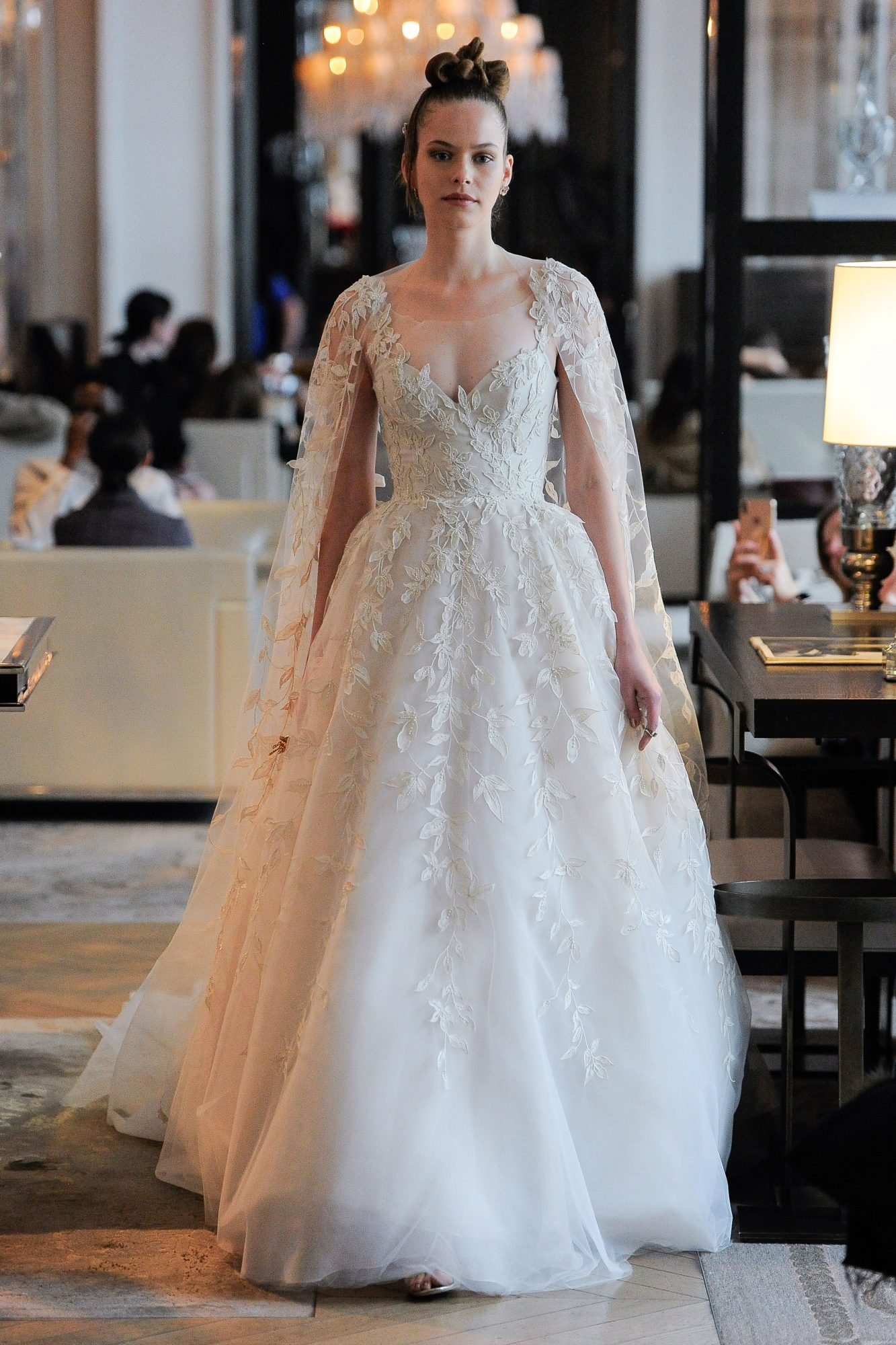 sweetheart lace floral applique long cape a-line wedding dress Ines Di Santo Spring 2020