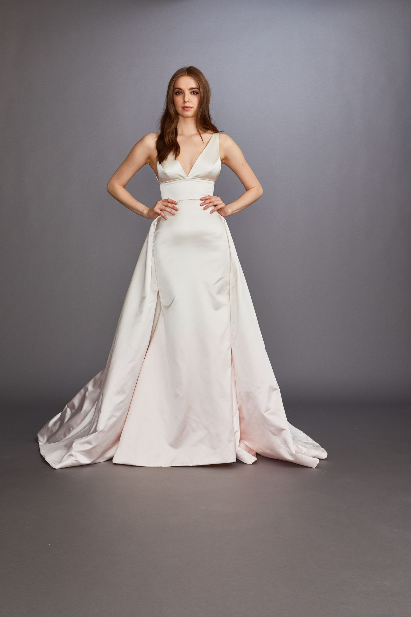 thick spaghetti strap v-neck overskirt a-line wedding dress Lazaro Spring 2020