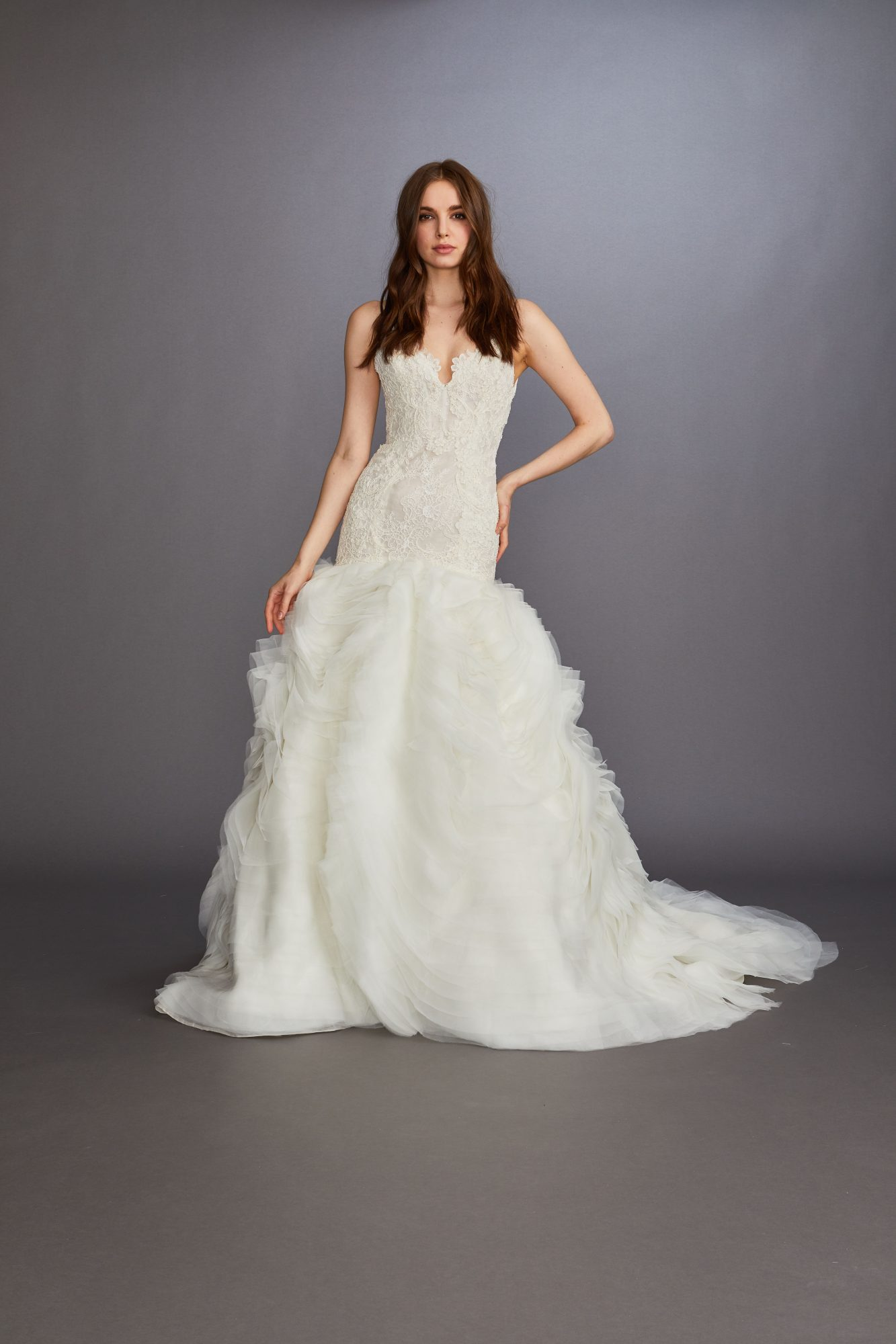 scalloped lace edge tiered tulle trumpet wedding dress Lazaro Spring 2020