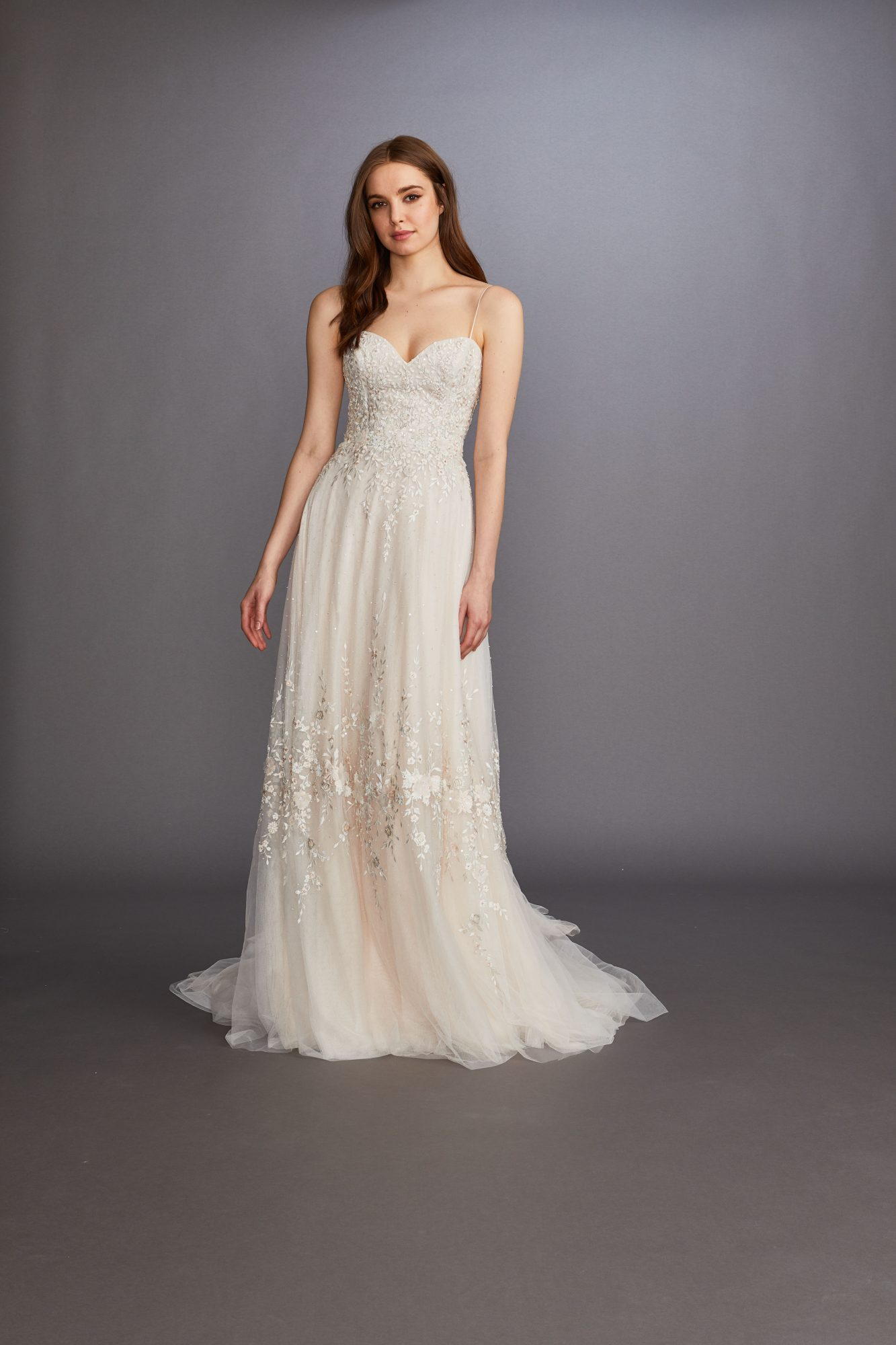 spaghetti strap sweetheart neckline lace a-line tulle wedding dress Lazaro Spring 2020