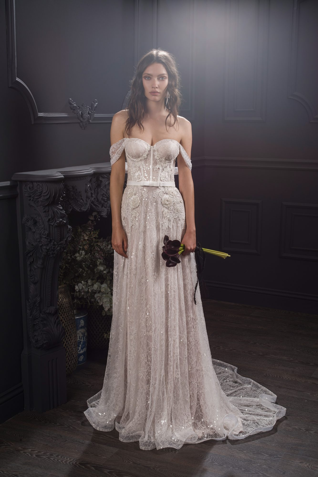 off-the-shoulder exposed boning sweetheart lace glitter beaded a-line wedding dress Lihi Hod Spring 2020