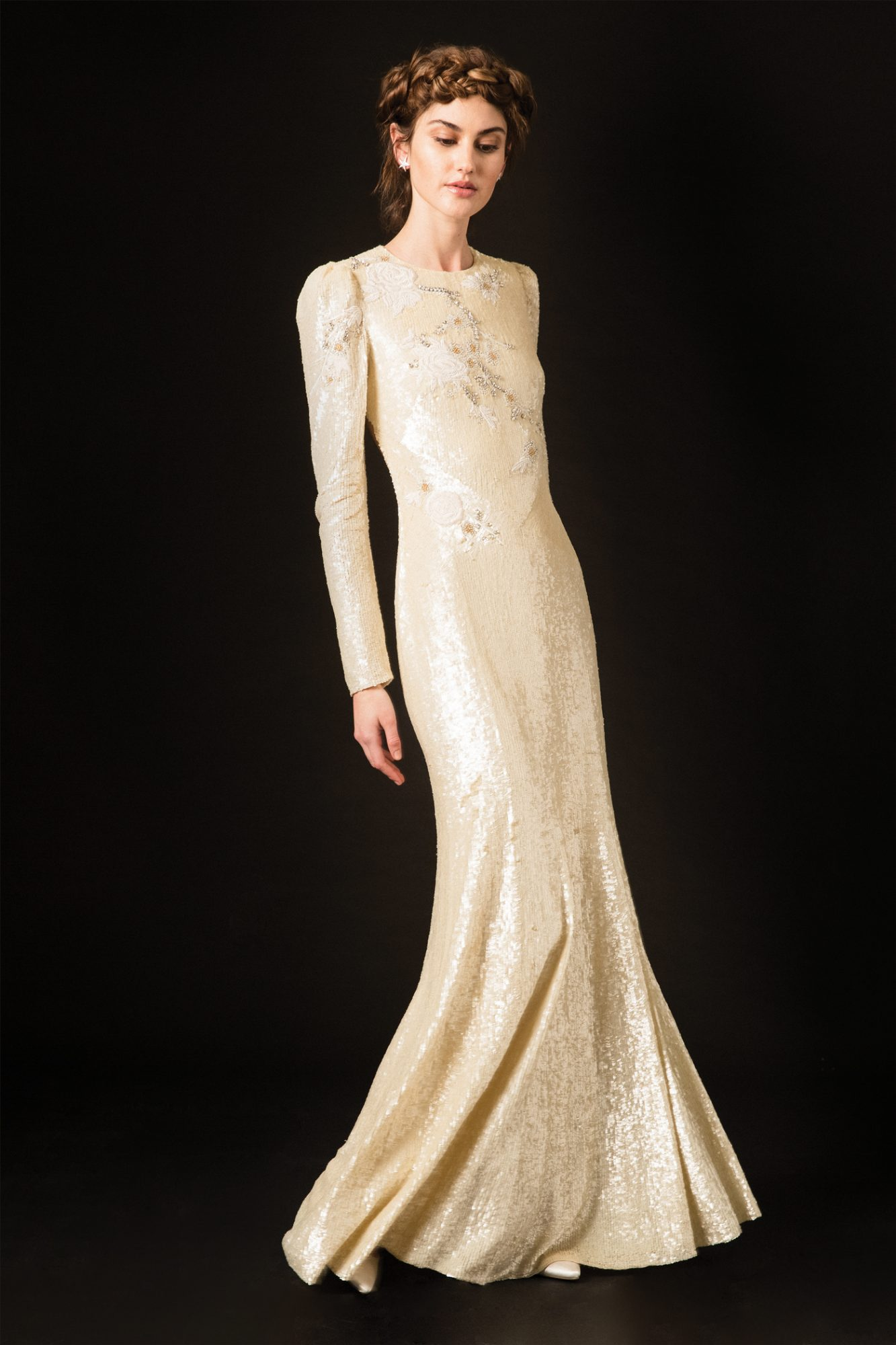 temperley shimmery long sleeve high neckline wedding dress spring 2020