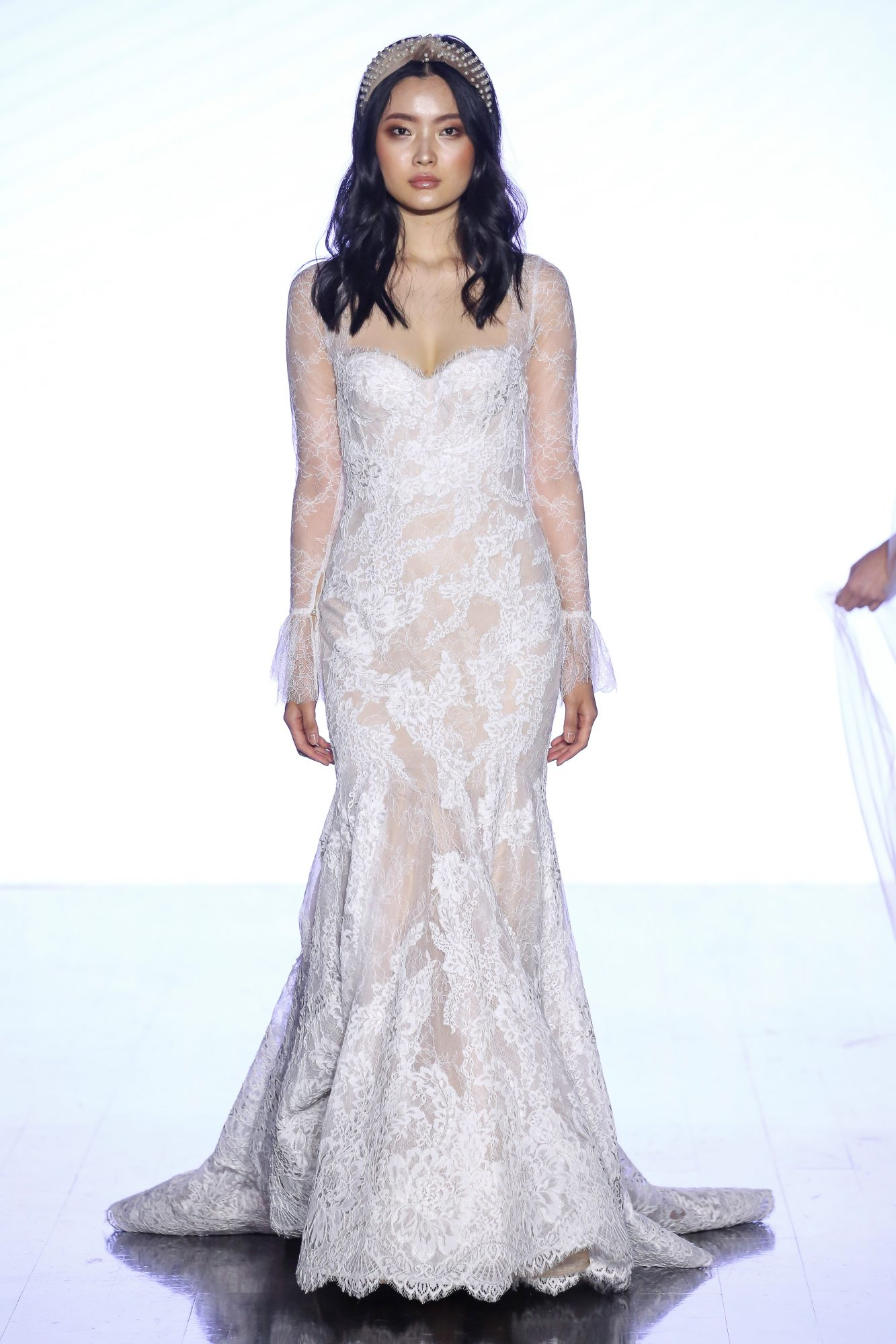 Strapless lace mermaid wedding dress with sweetheart neckline paired with jacket