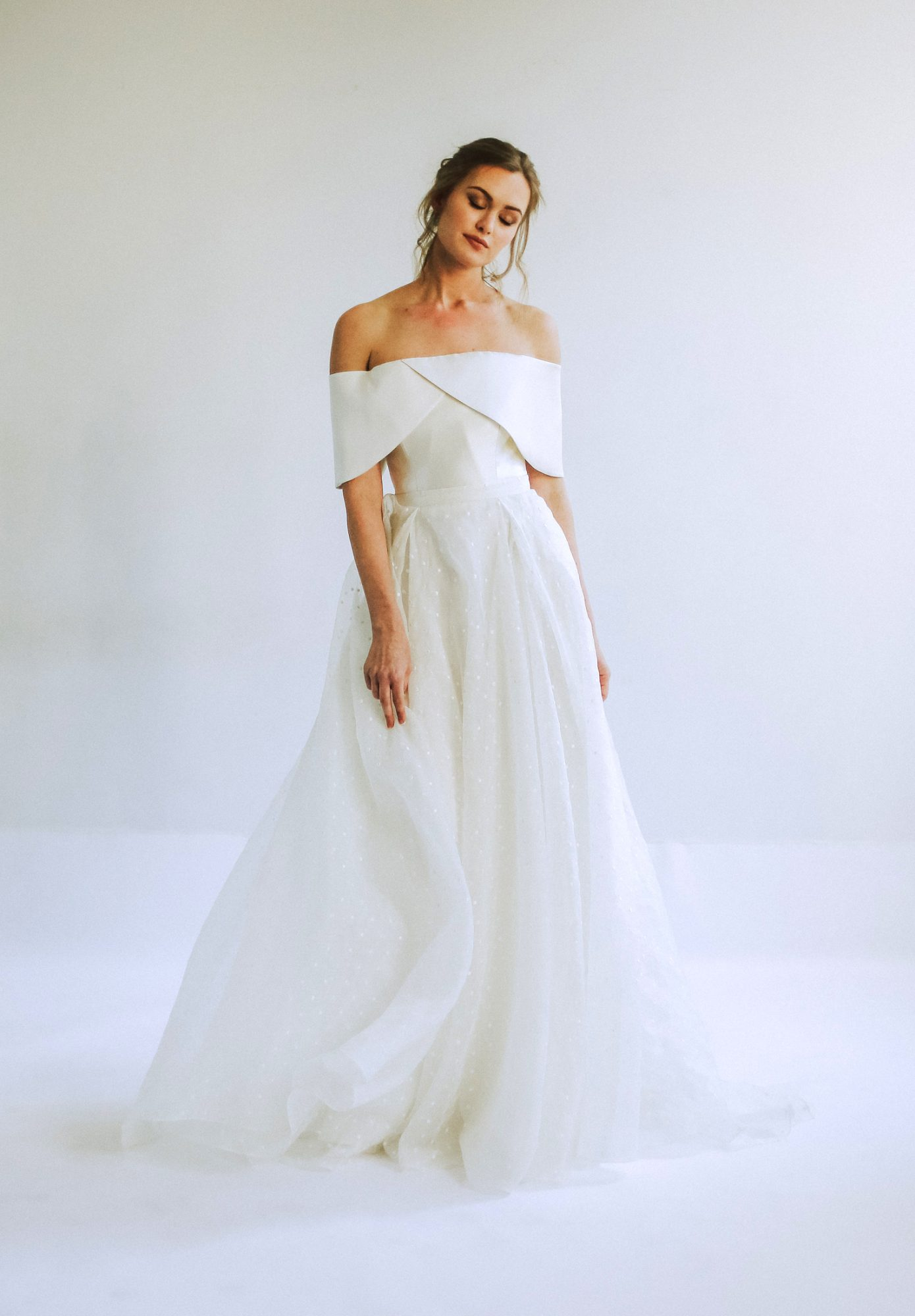 leanna marshall off the shoulder ball gown wedding dress spring 2020