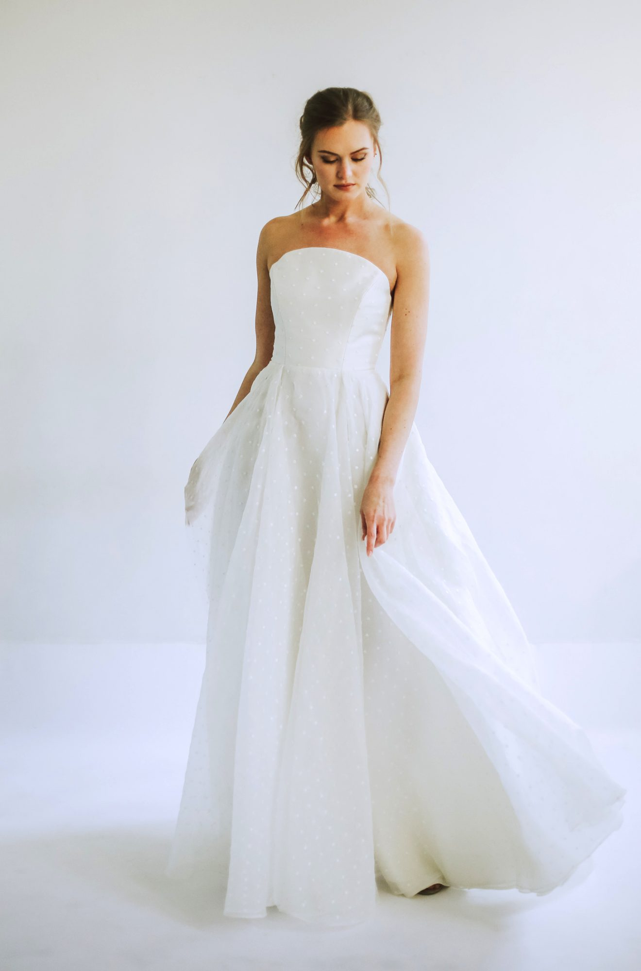 leanna marshall strapless ball gown dotted sheet overlay wedding dress spring 2020