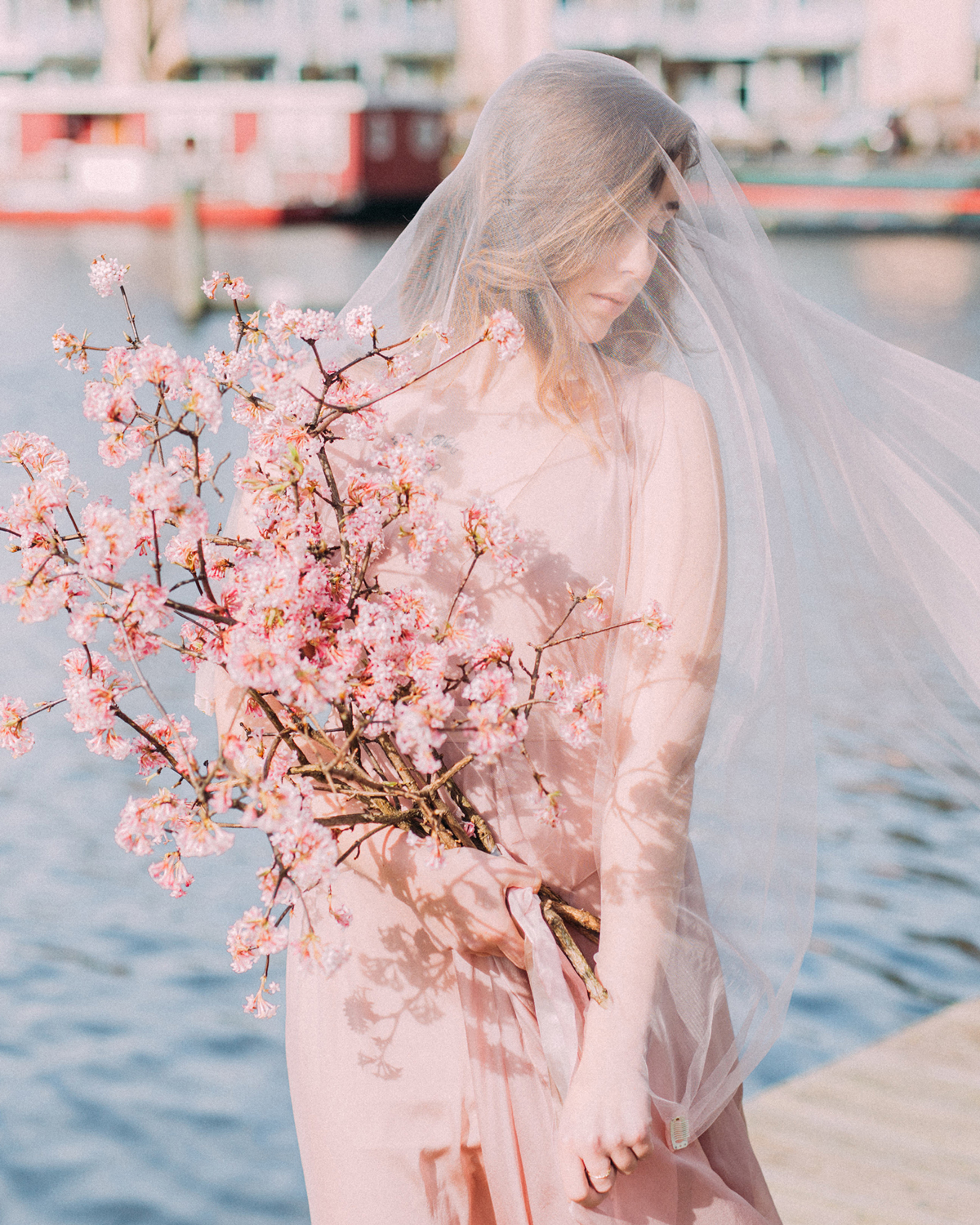 Cherry blossom branches long stemmed wedding bouquet