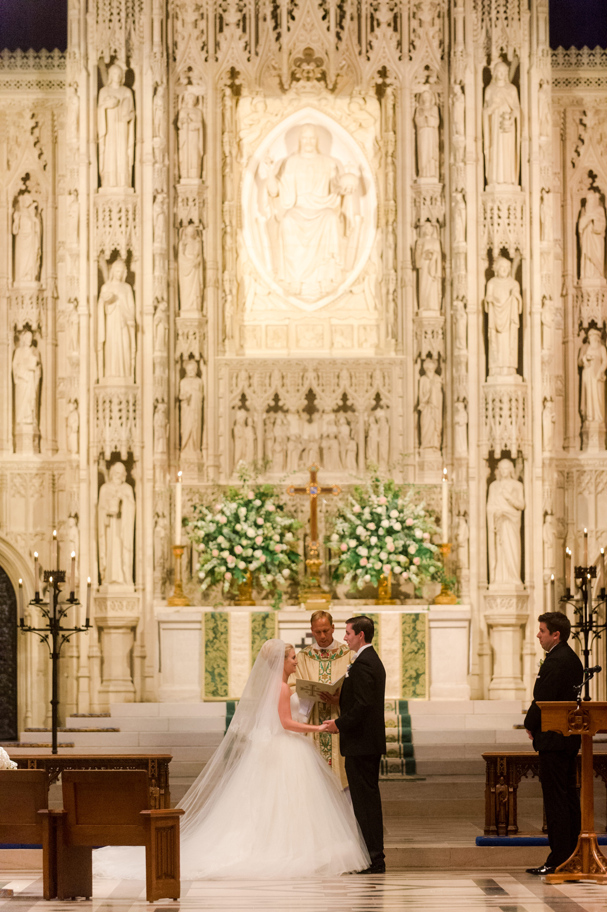 bride and groom wedding ceremony cathedral traditional