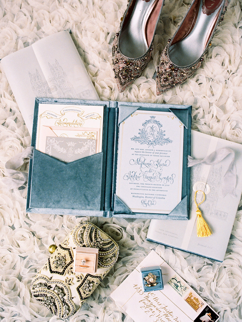 formal and vintage inspired wedding stationary suit