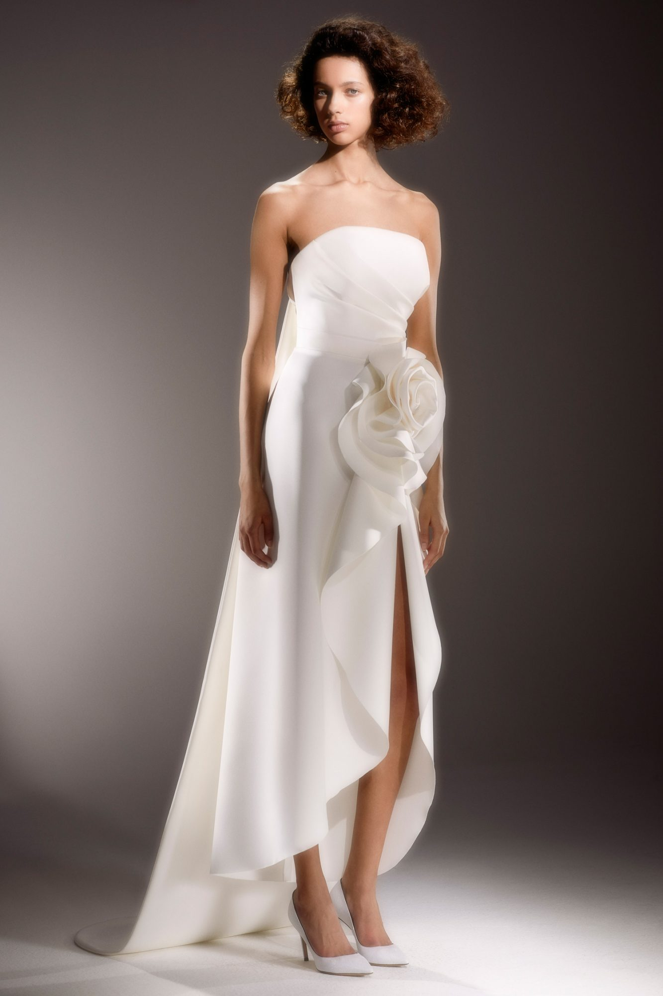viktor and rolf strapless high low wedding dress with 3D flower and slit spring 2020