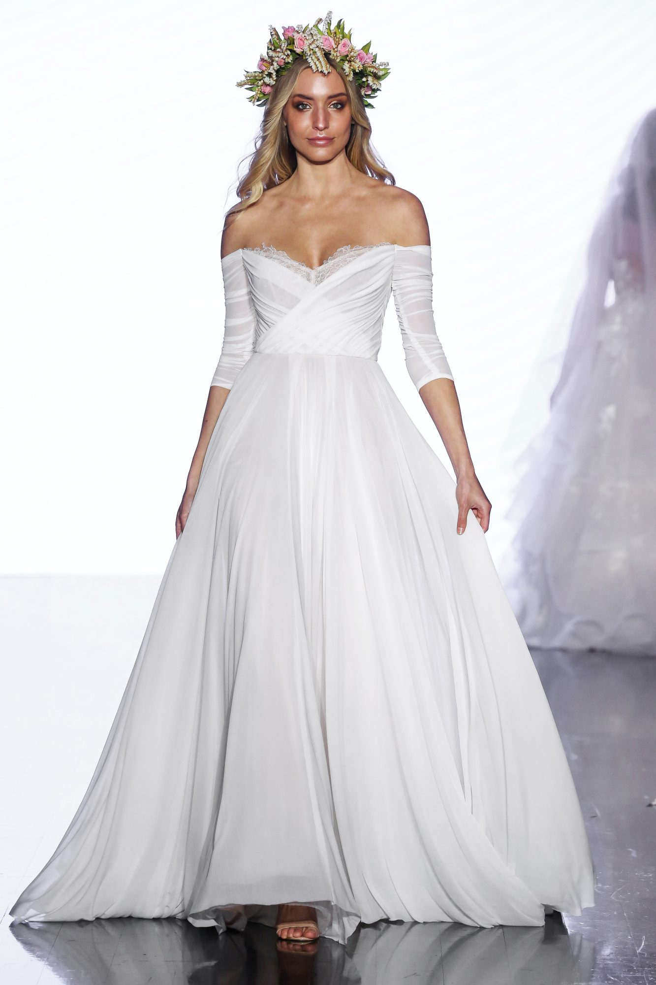 wtoo by watters off the shoulder a line three quarter length sleeves wedding dress spring 2020