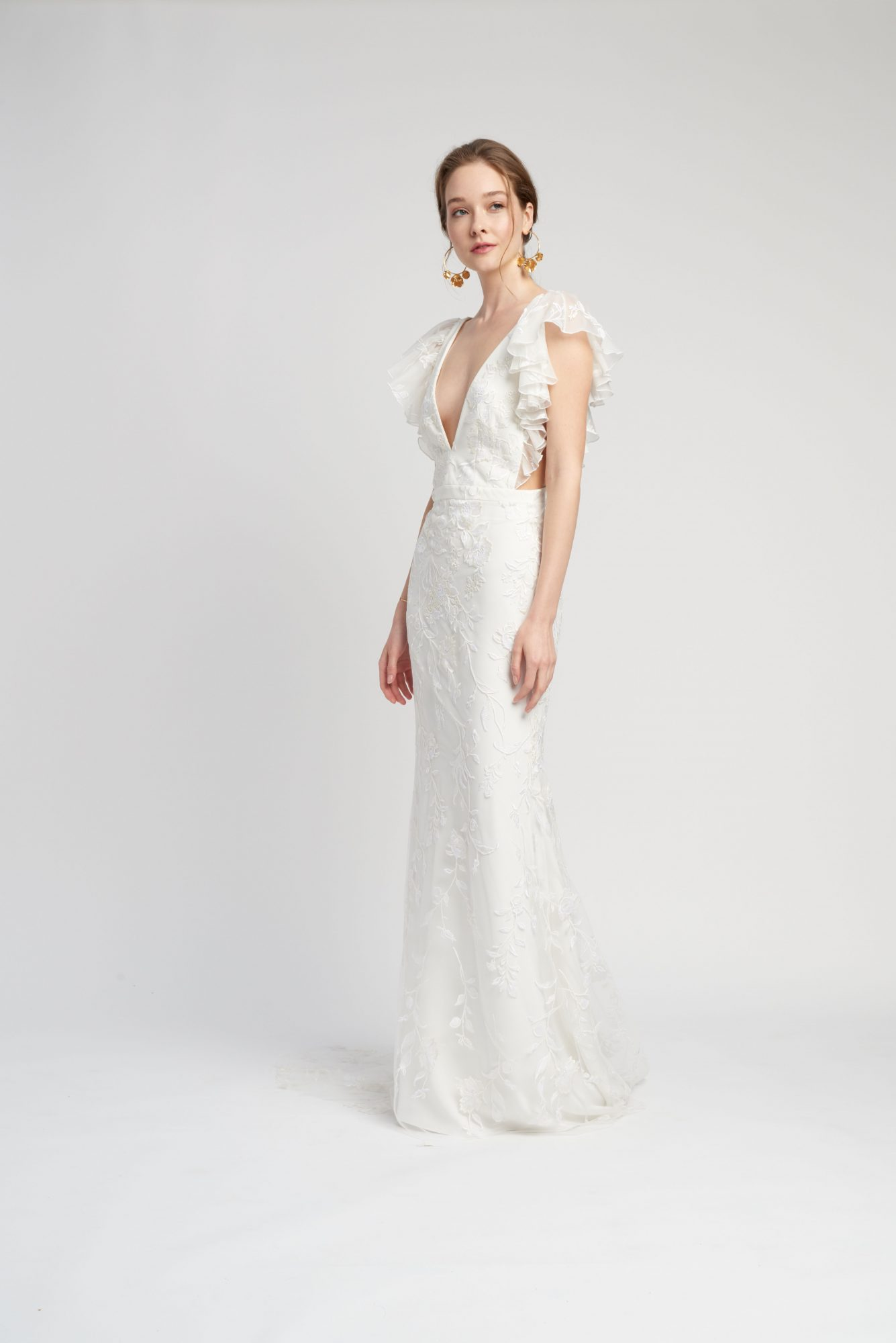 flutter sleeves deep v-neck lace a-line wedding dress Lover of Mine by Alexandra Grecco Spring 2020