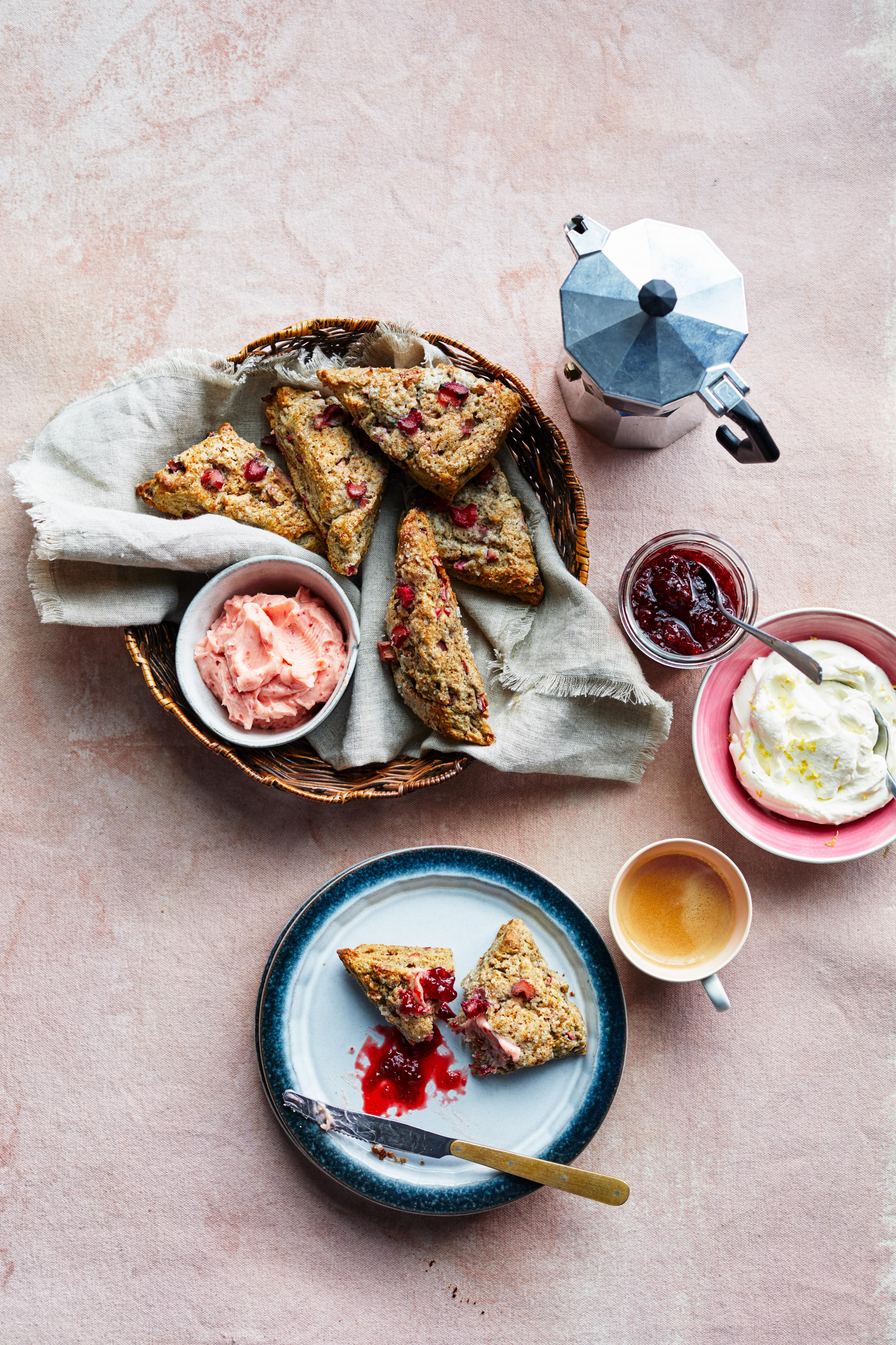 Buckwheat Rhubarb Scones with Strawberry Butter
