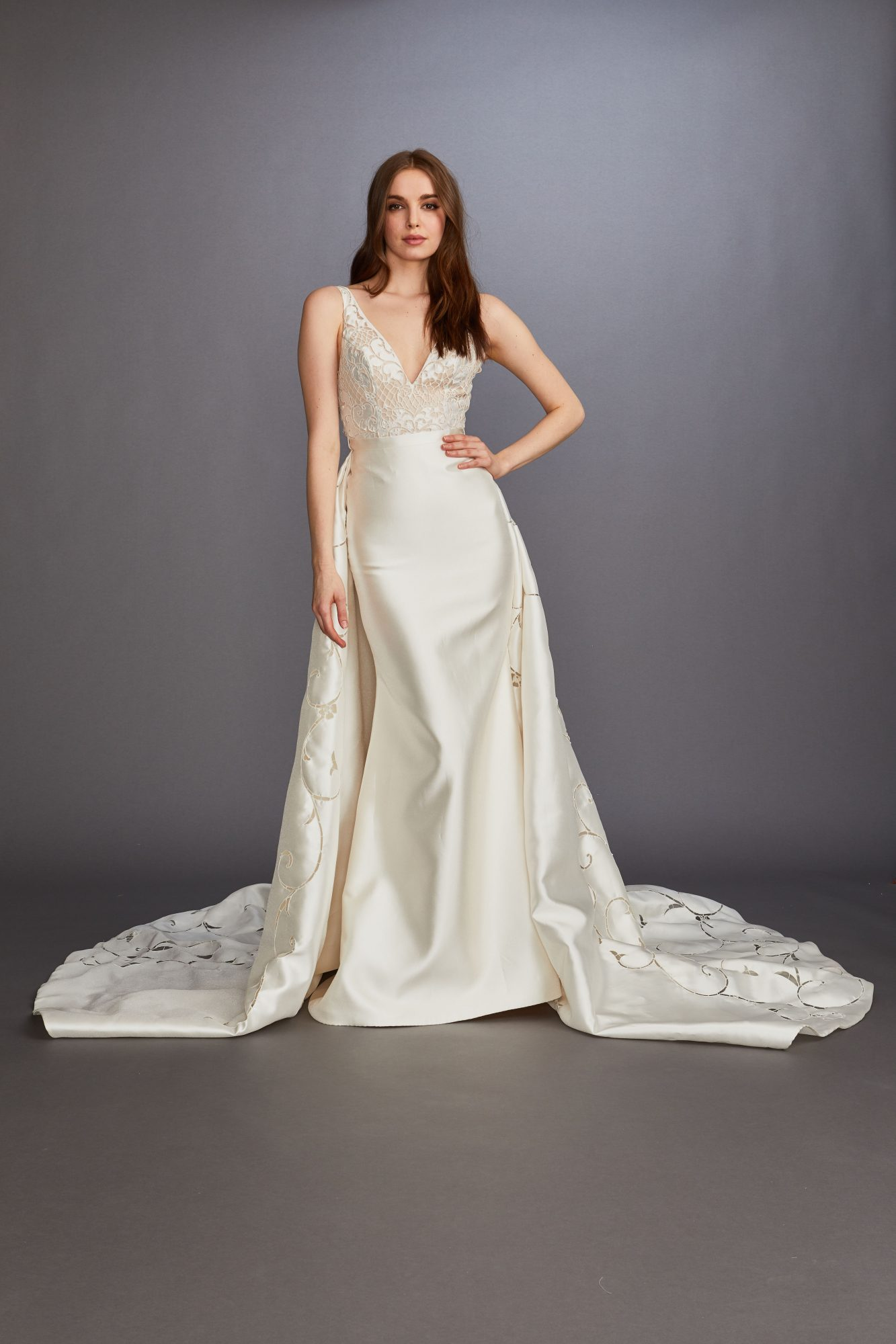 thick spaghetti strap v-neck lace overskirt a-line wedding dress Lazaro Spring 2020