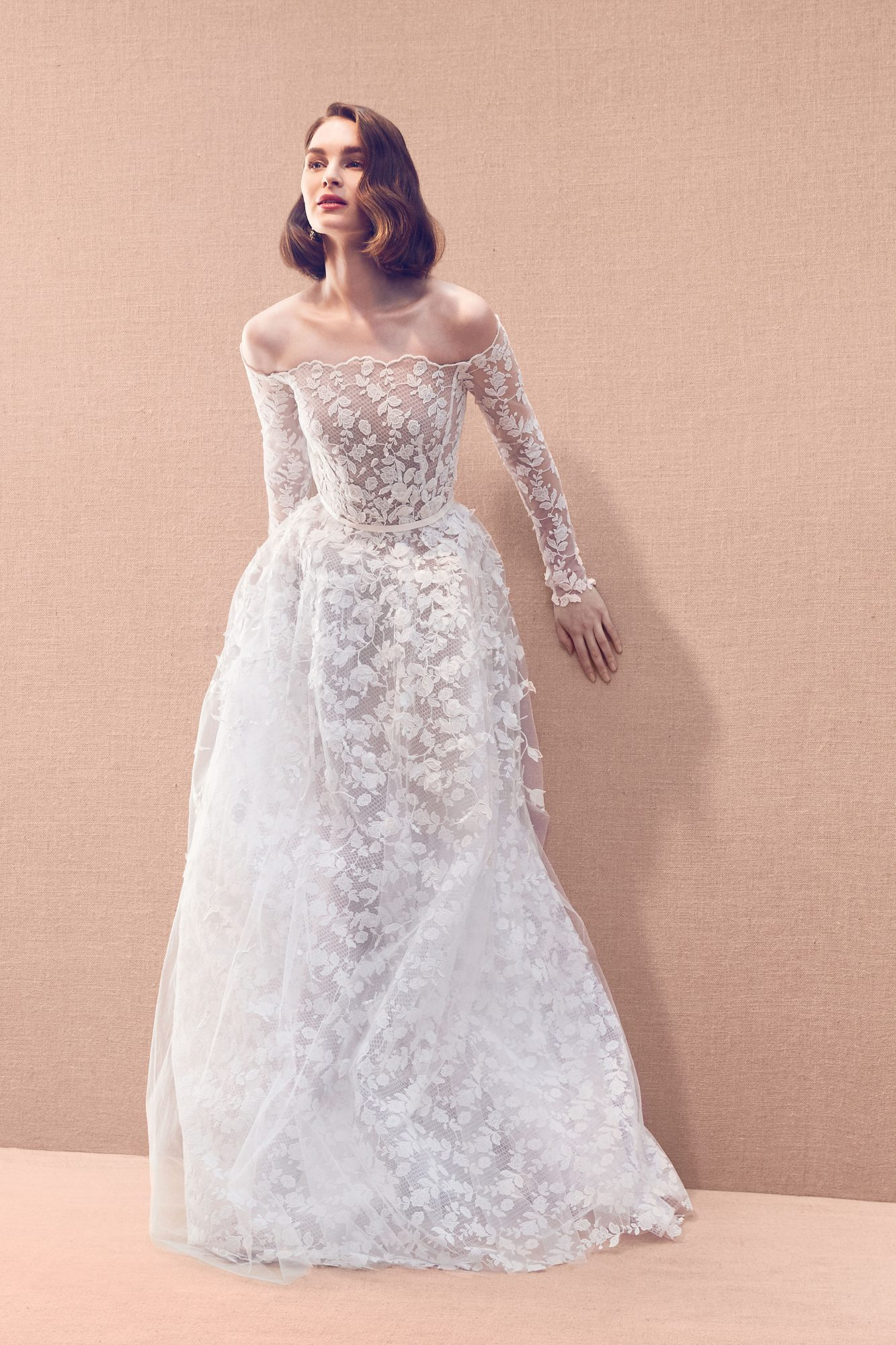 sheer lace scalloped edging off-the-shoulder long sleeve a-line wedding dress Oscar de la Renta Spring 2020