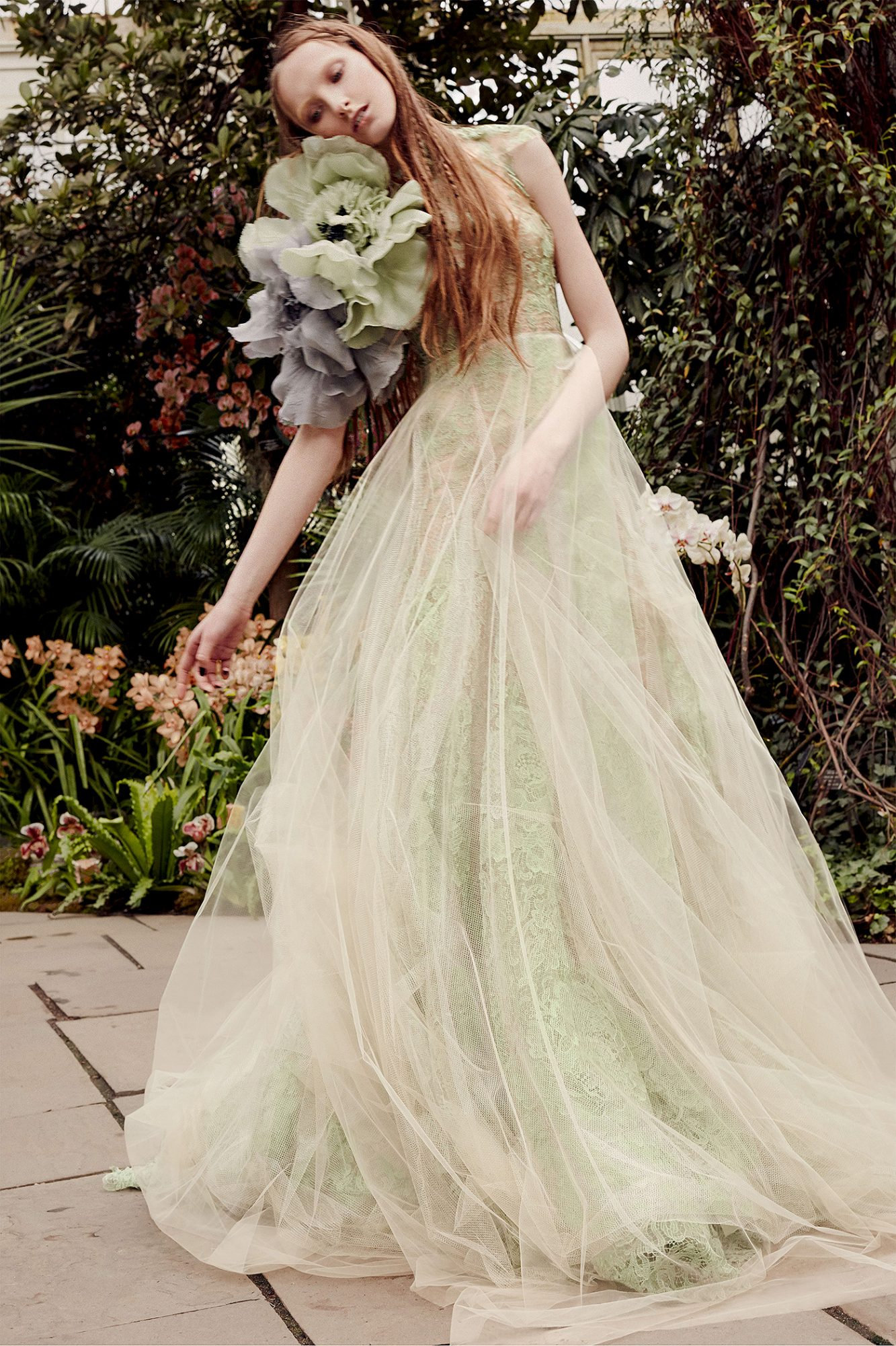 vera wang green sheer overlay wedding dress spring 2020
