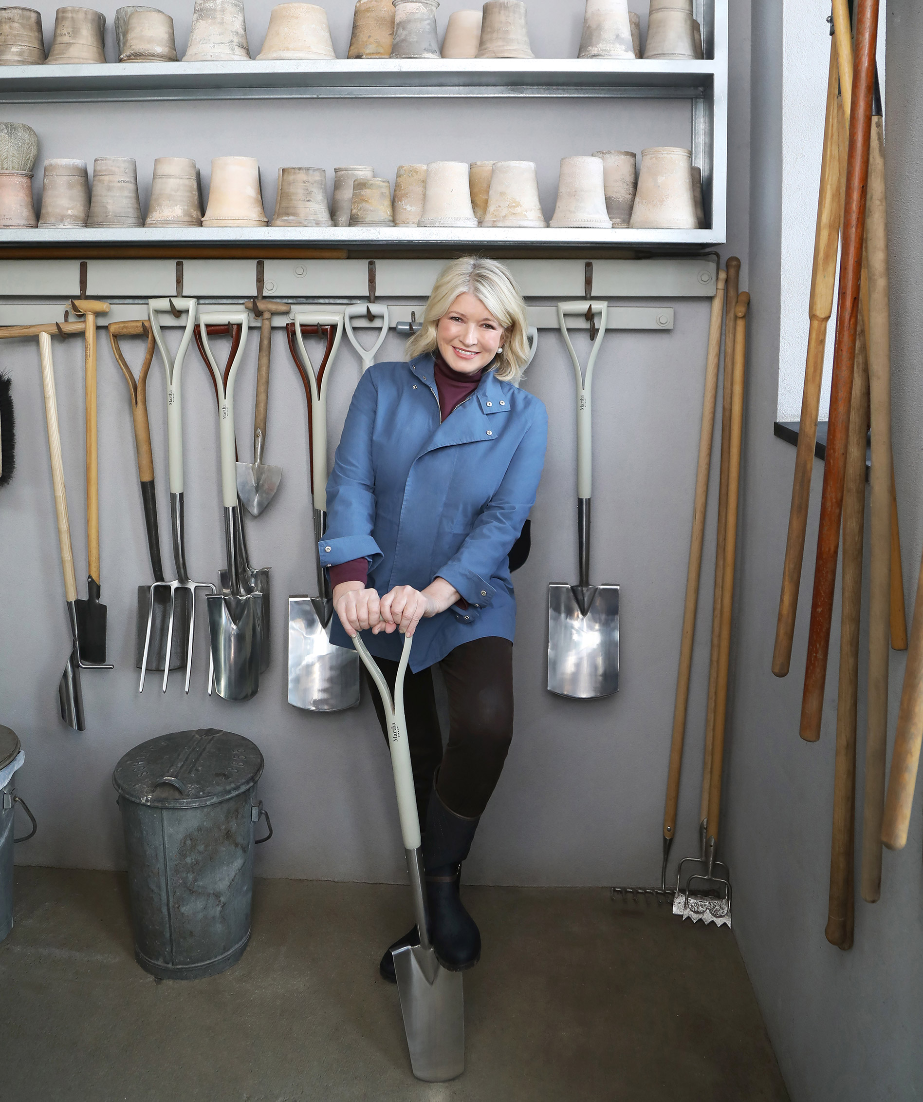 martha stewart standing with a shovel