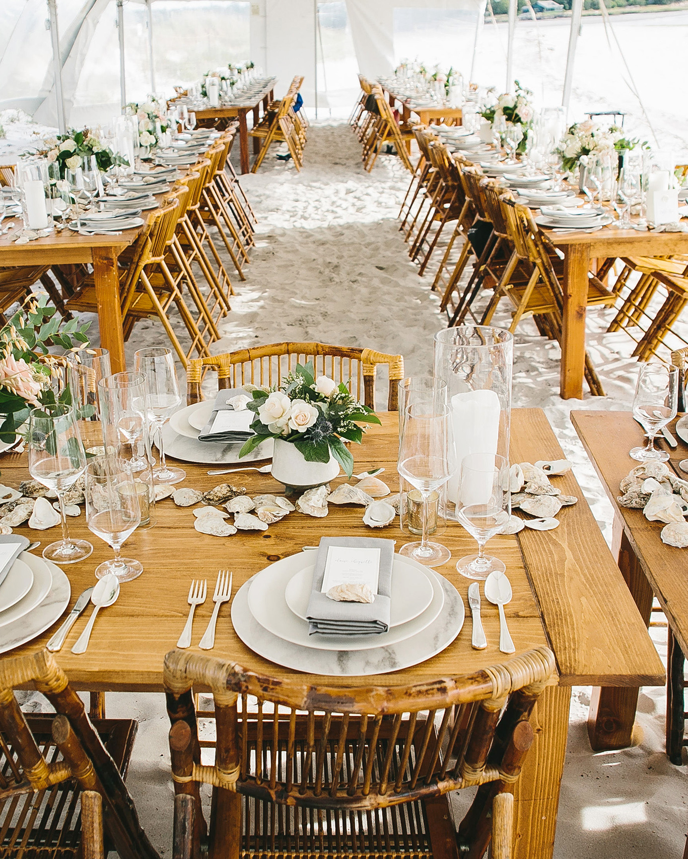 reception tent with neutral tones