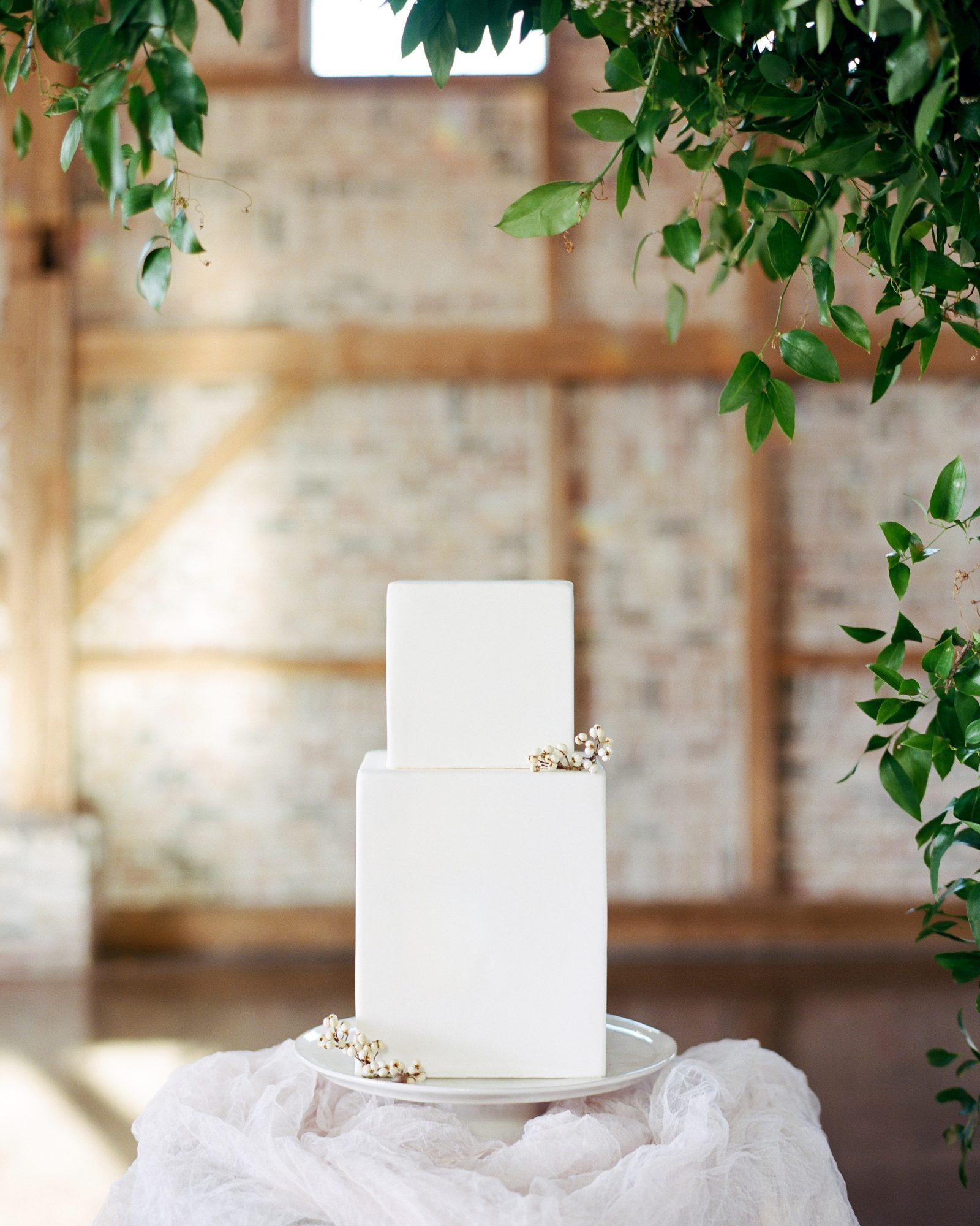 cubed wedding simple rectangular white cake